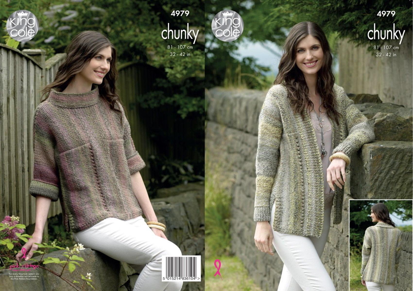 Ladies Cardigan Sweater Jumper Womens Chunky Knitting Pattern King Cole 4979