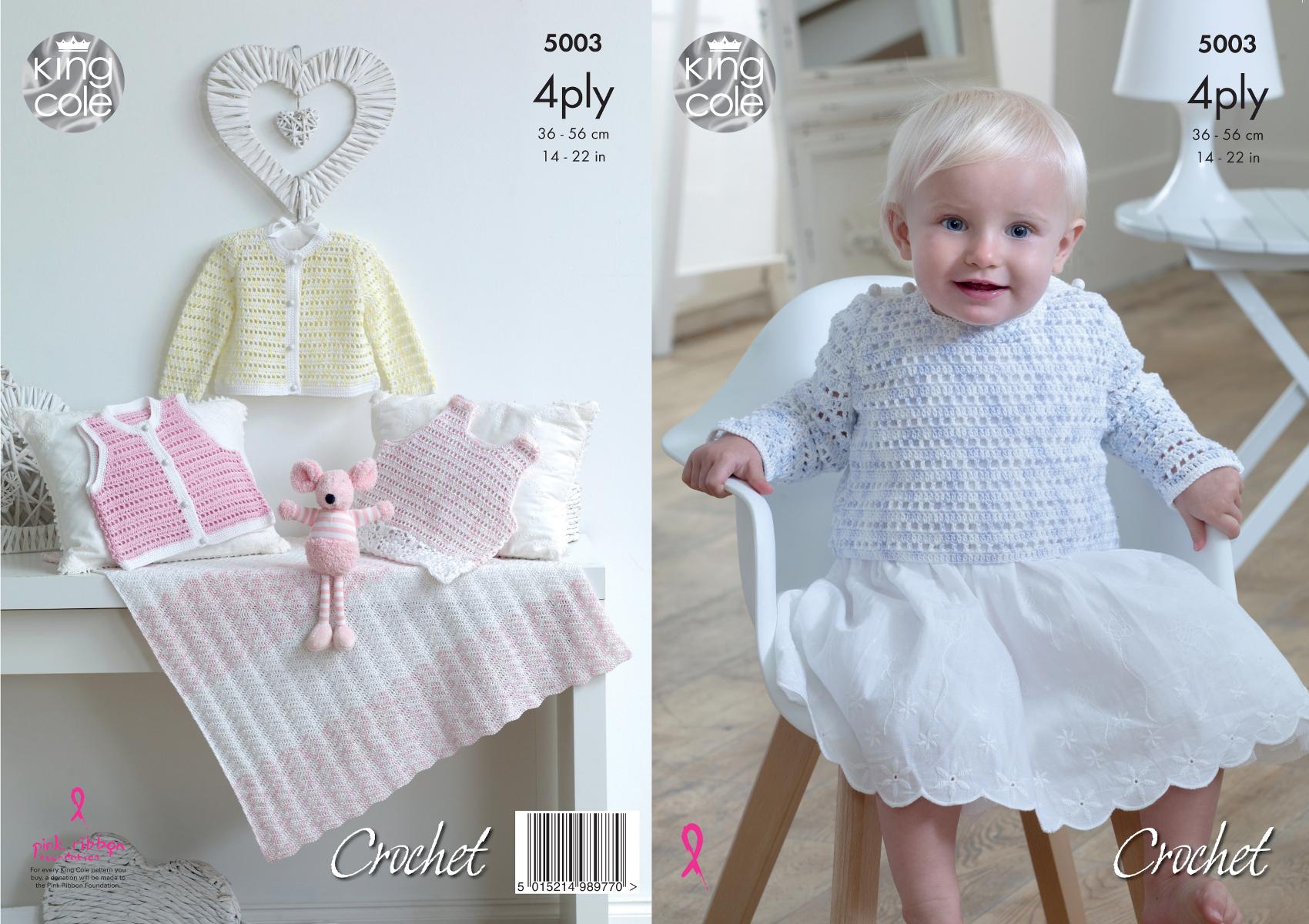 King Cole Baby 4Ply Crochet Pattern Dress Jumper Cardigan Waistcoat ...