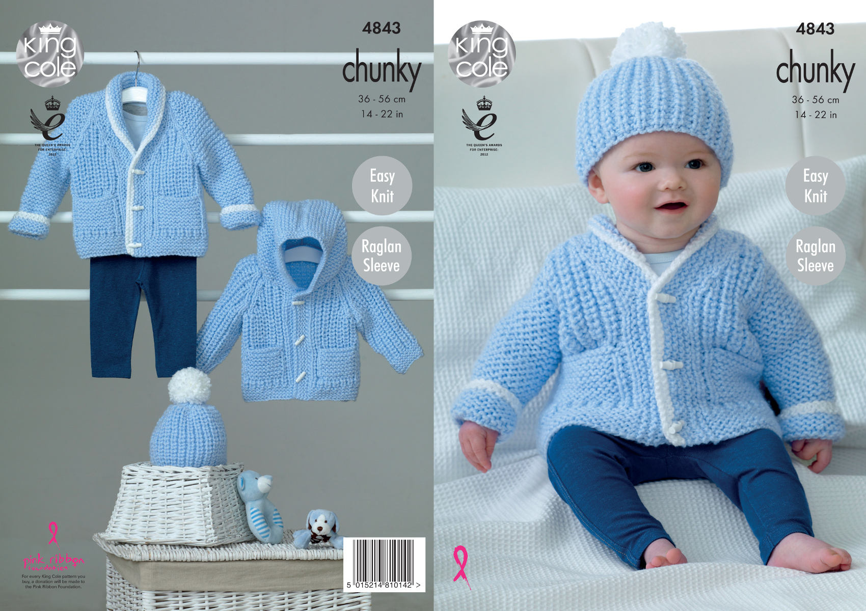 King Cole Baby Chunky Knitting Pattern Easy Knit Raglan Sleeve ...