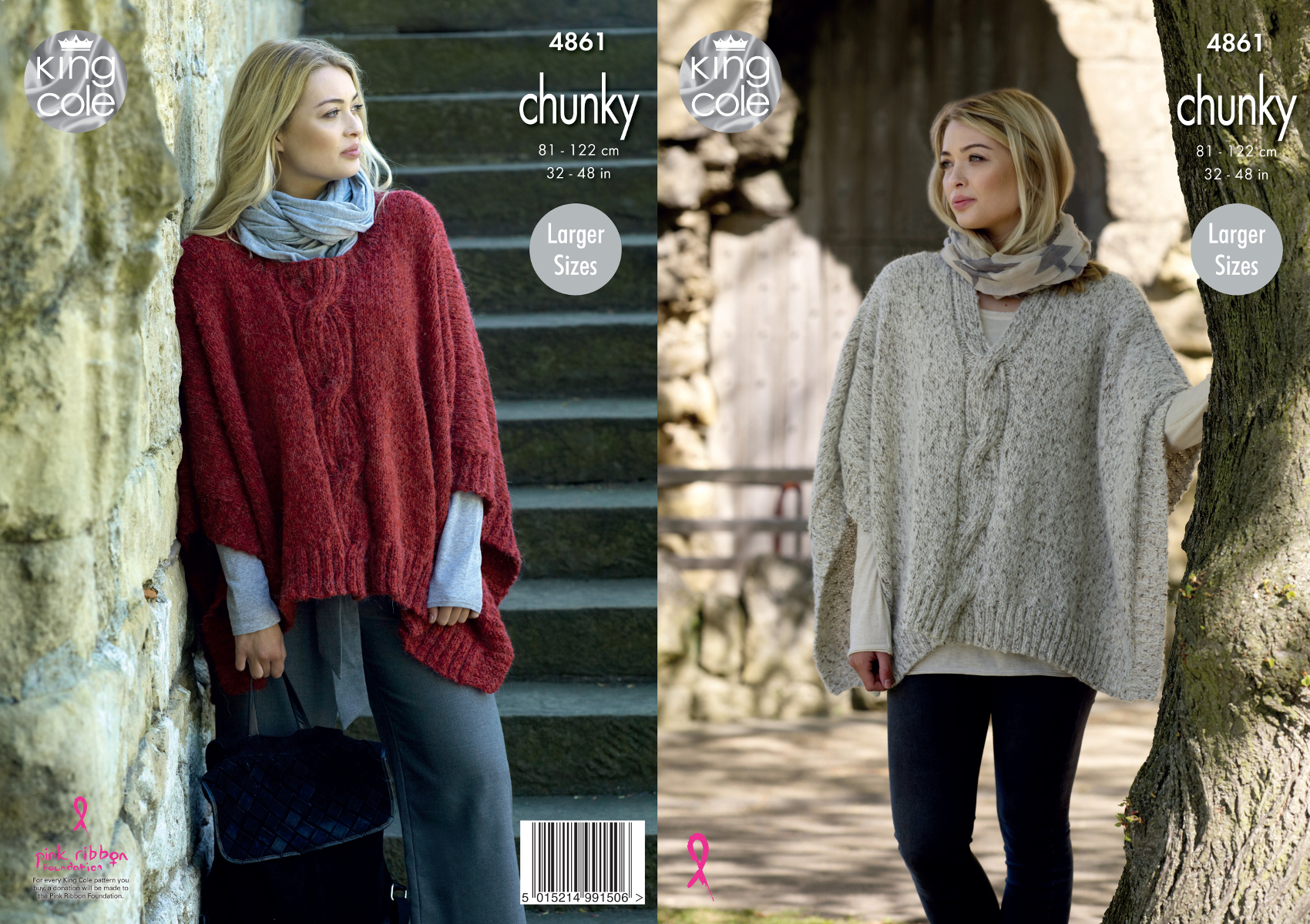 Womens Round or V Neck Cabled Poncho Cape Chunky Knitting Pattern ...