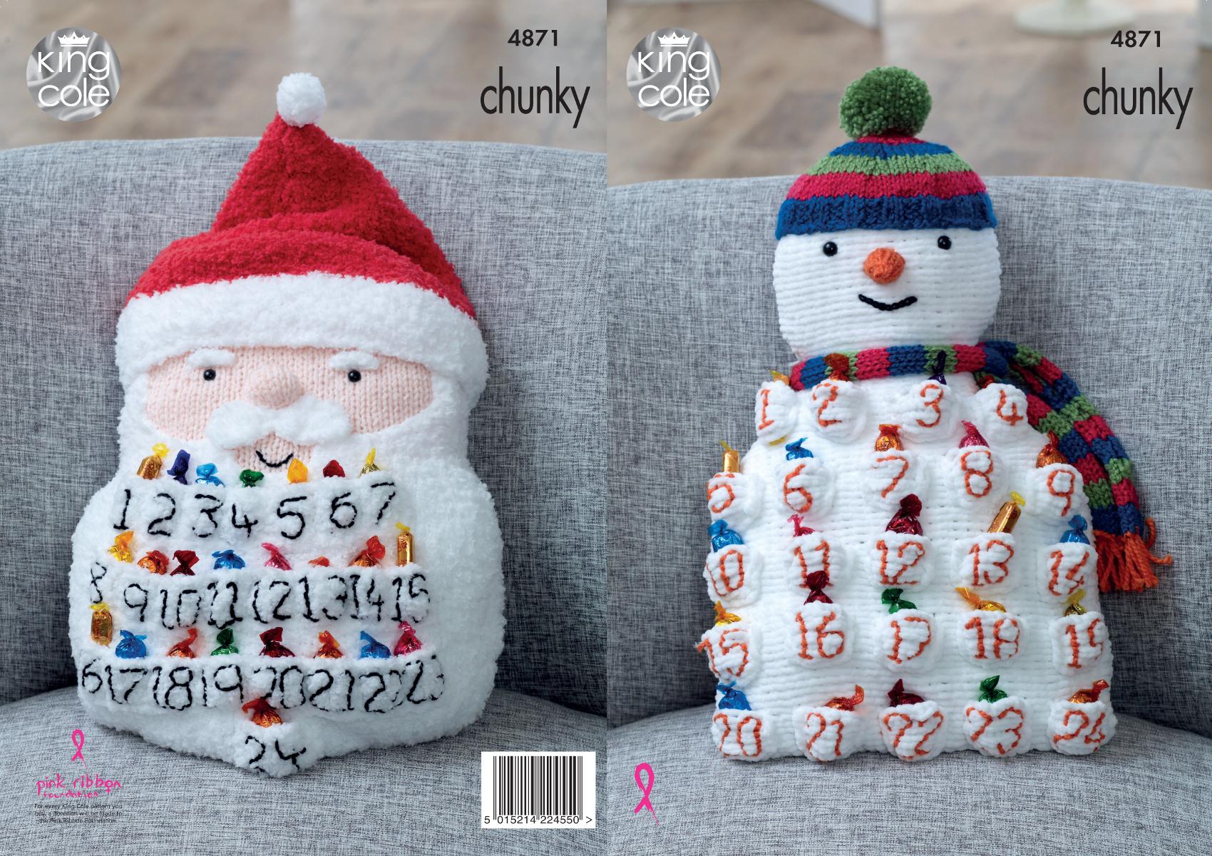 King Cole Chunky Knitting Pattern Snowman or Santa Advent Calendar ...