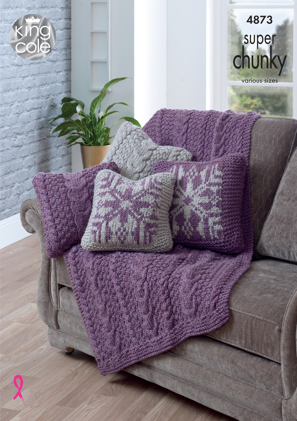 King Cole Super Chunky Knitting Pattern Small or Large Cushion ...