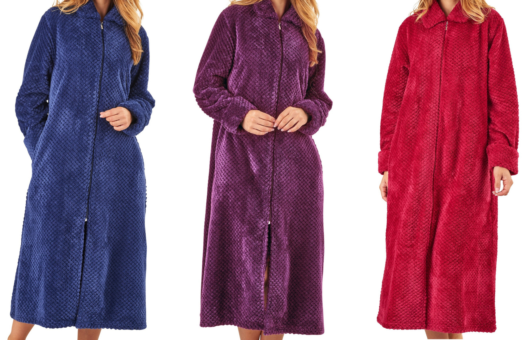 Dressing Gown Ladies Zip Up Soft Waffle Fleece Slenderella Nightwear ...