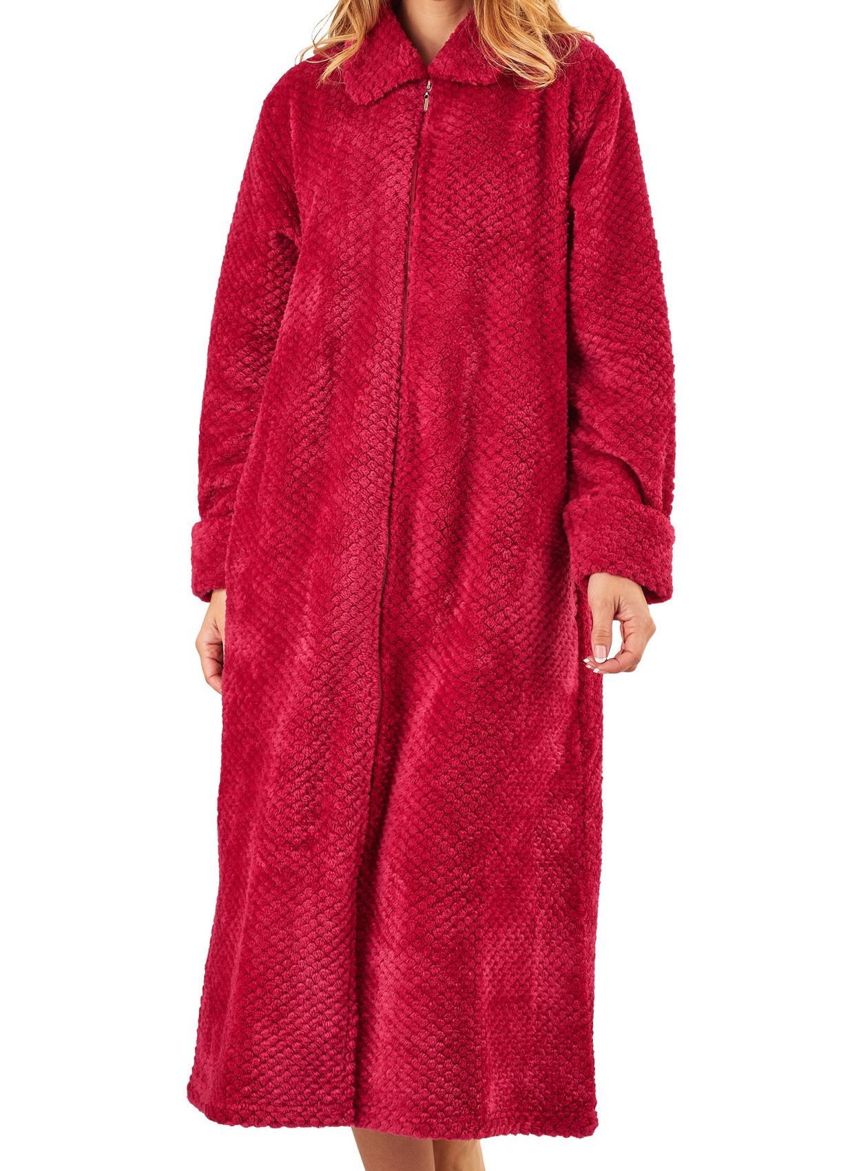 Dressing Gown Ladies Zip up Soft Waffle Fleece Slenderella Nightwear ...