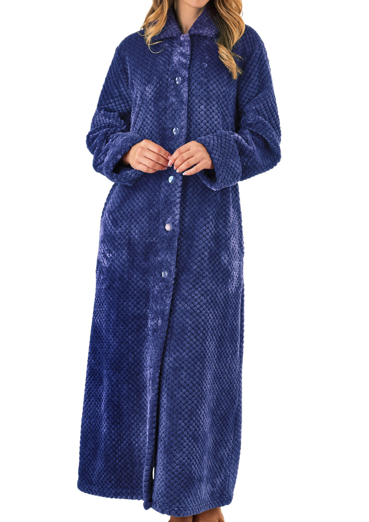 b284bce3dd Dressing Gown Ladies Waffle Fleece Button Up Bath Robe Slenderella Nightwear