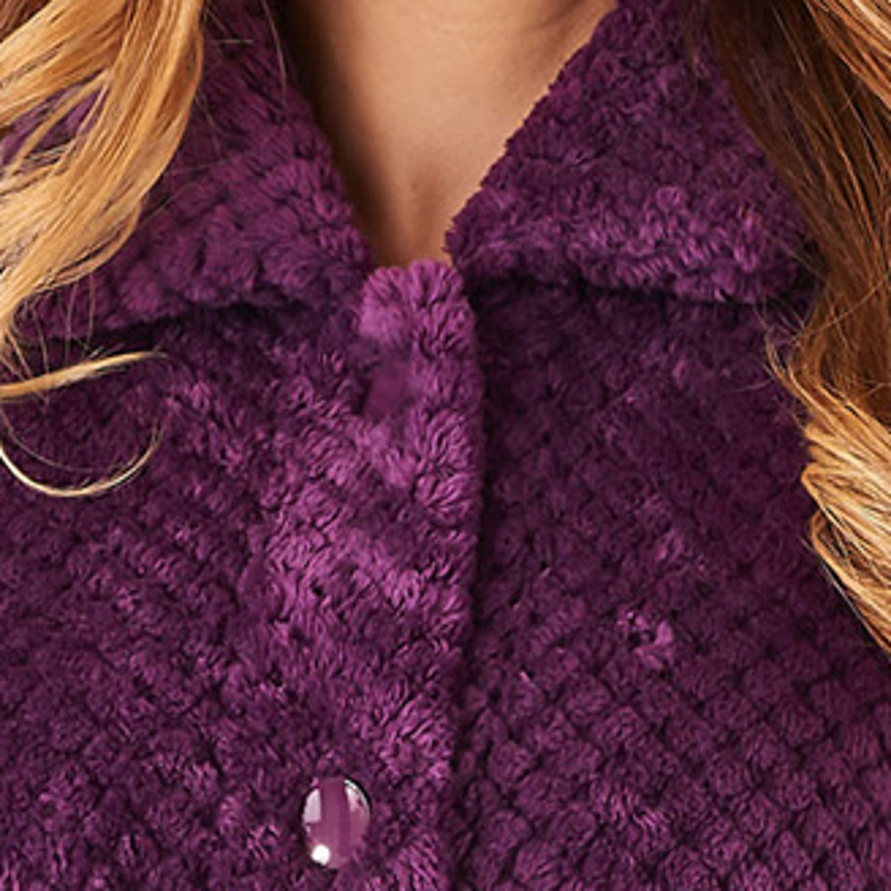 61bd3514bc HC8317-slenderella-ladies-womens-button-up-waffle-fleece-dressing-gown -plum-close-up-1.jpg