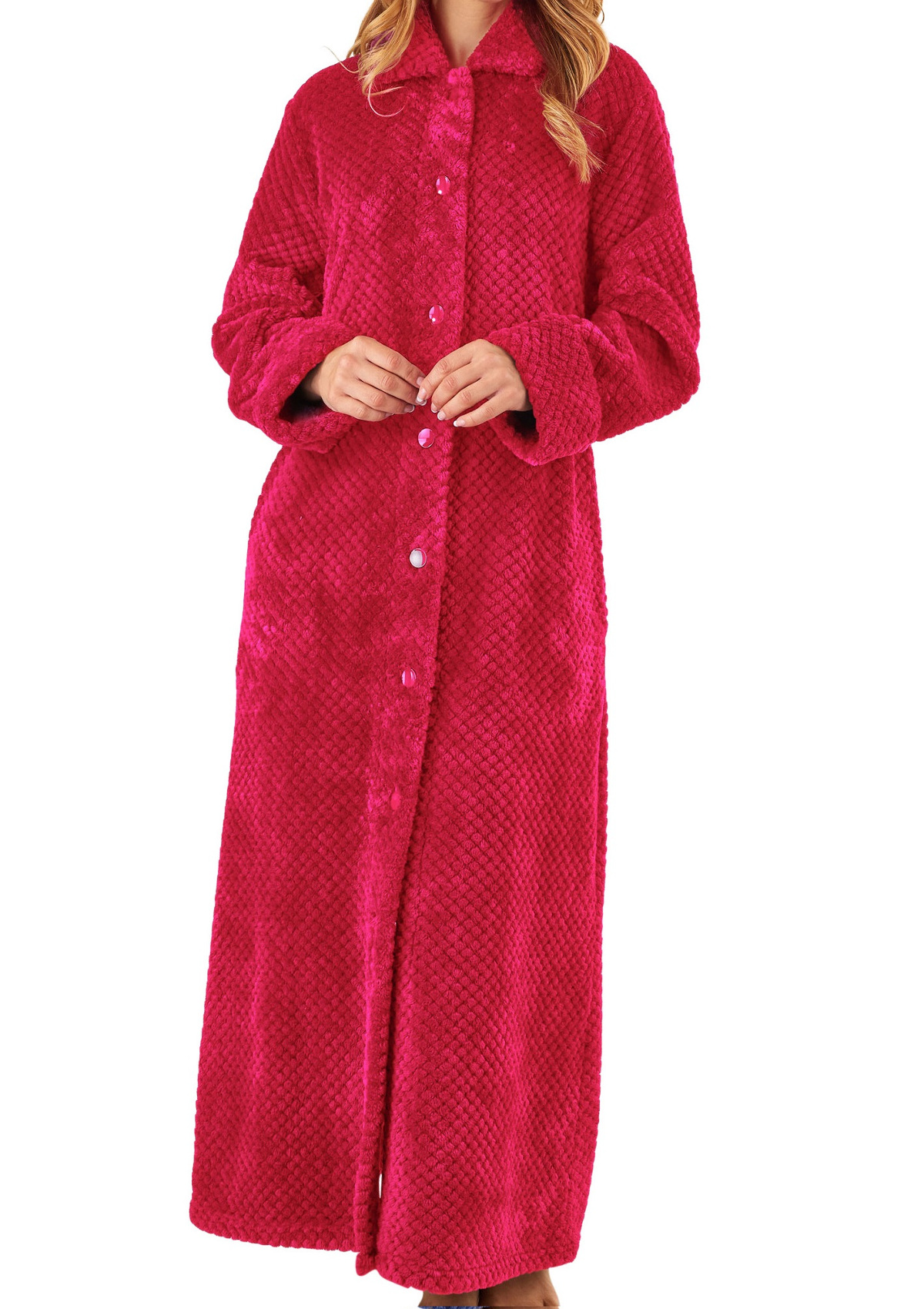 e3962ec2a13bf Dressing Gown Ladies Waffle Fleece Button Up Bath Robe Slenderella Nightwear