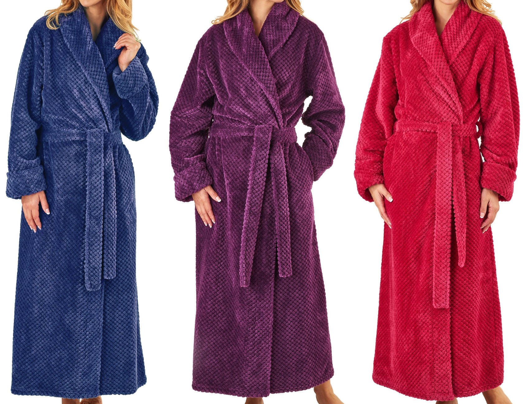 Dressing Gown Ladies Waffle Fleece Shawl Collar Wrap Robe ...