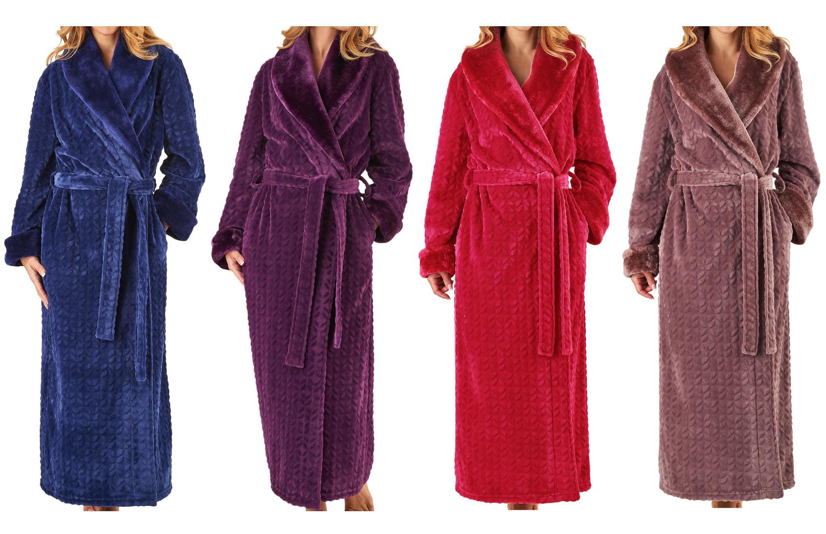 Dressing Gown Super Soft Ladies Bathrobe Faux Fur Shawl Collar Wrap ...
