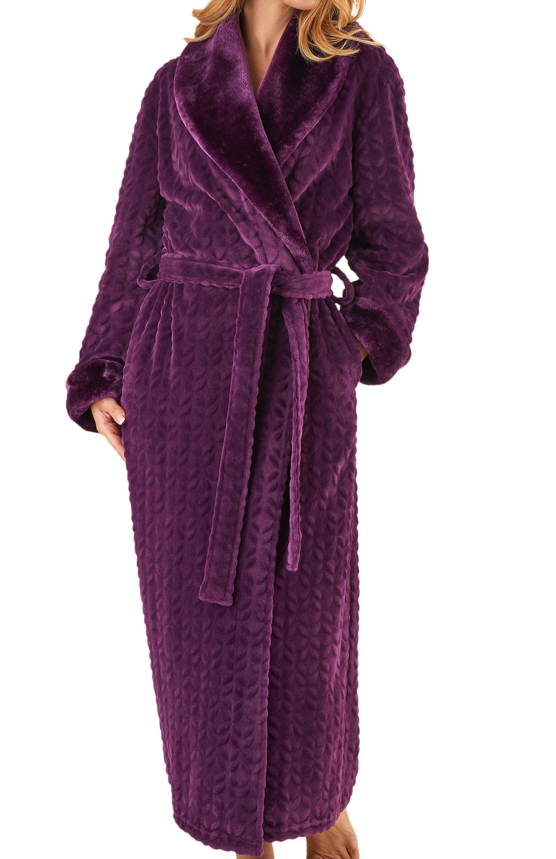 These luxurious ladies wrap around dressing gowns by Slenderella are made  from a super soft fleece and have faux fur detail to the collar and cuffs  of the ... e686bea6e