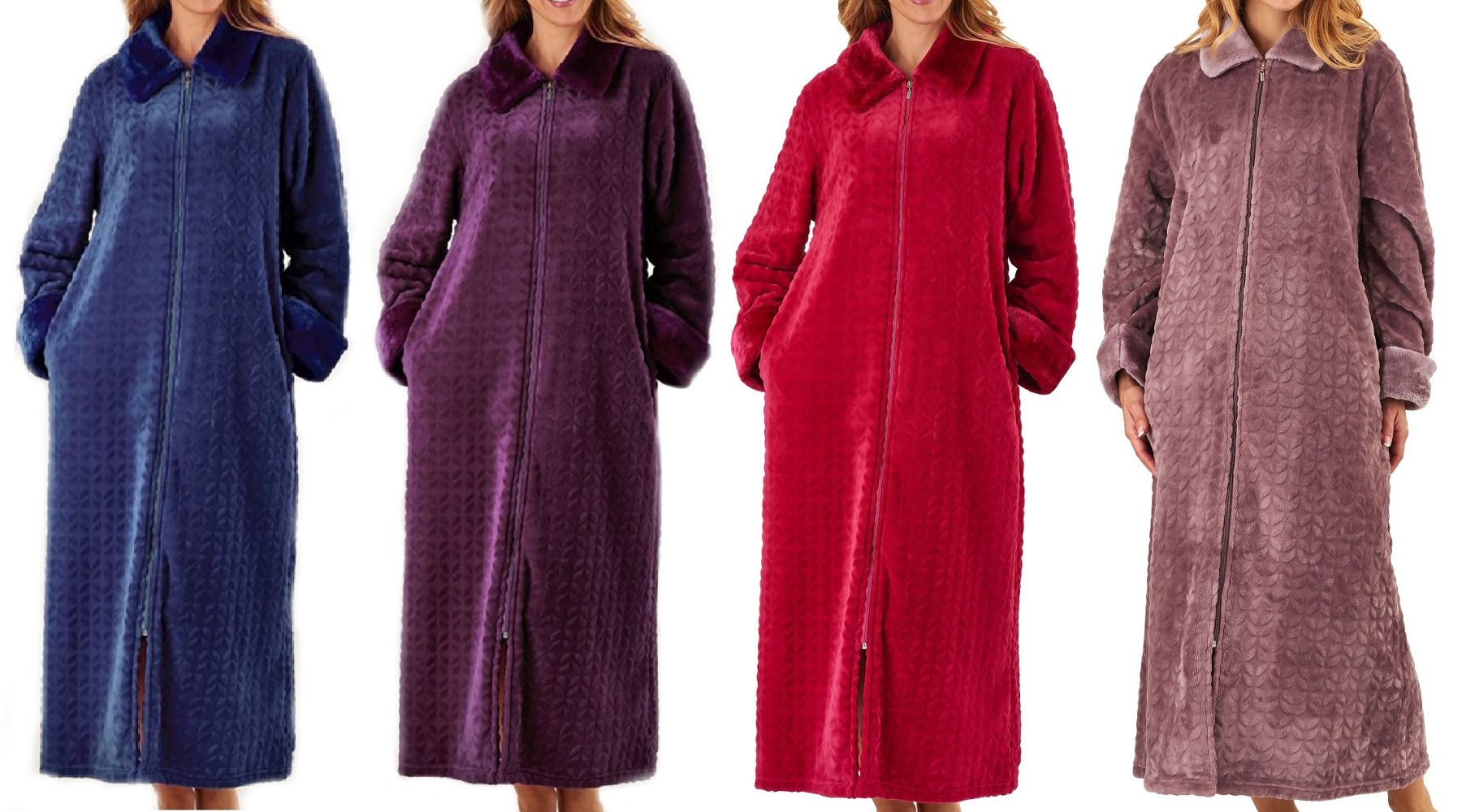 Slenderella Ladies Zip Up Dressing Gown Super Soft Faux Fur Collar ...