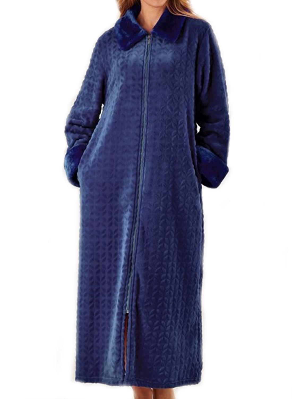 Dressing Gown Womens Soft Faux Fur Zip Up Bathrobe ...