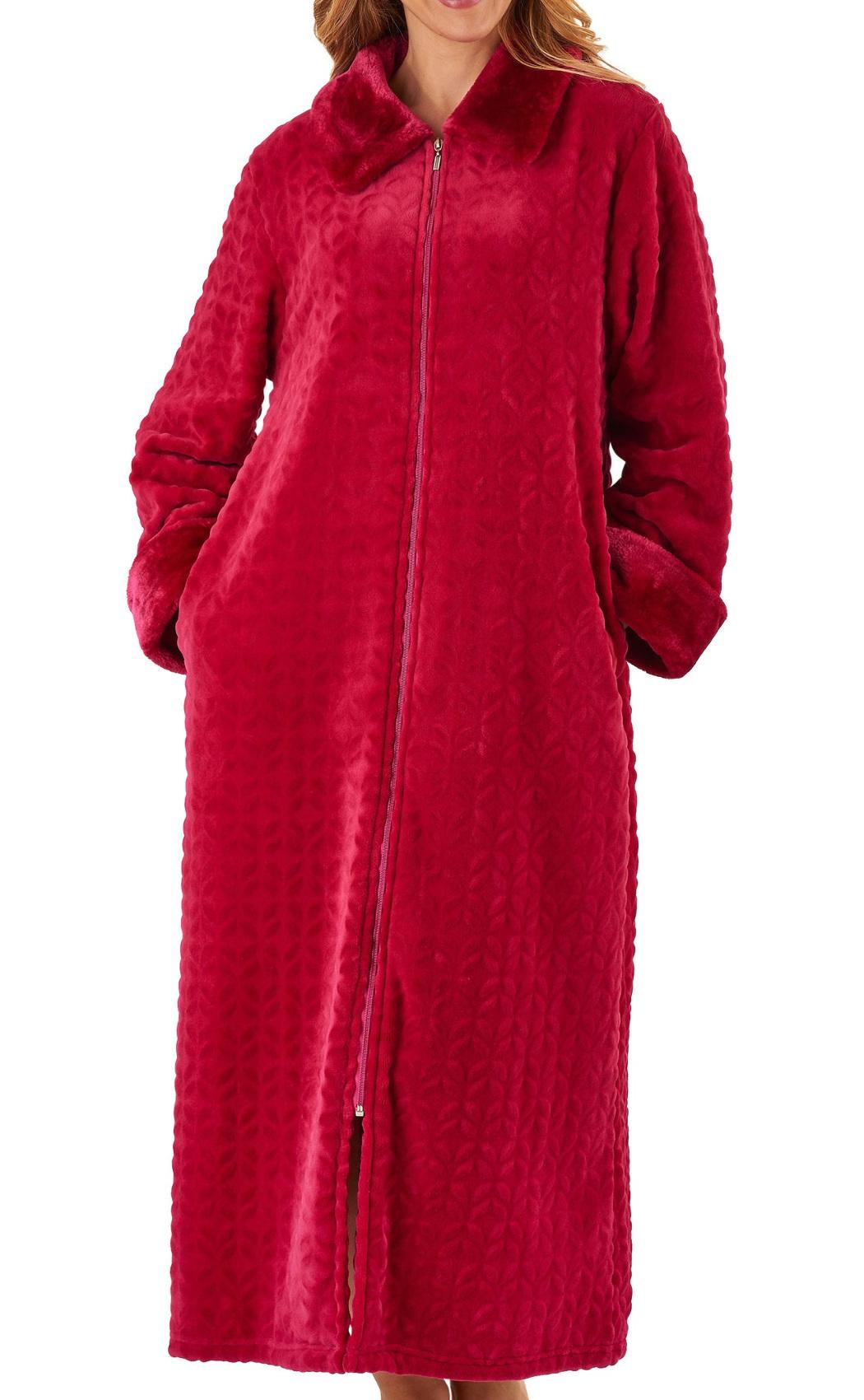 Dressing Gown Womens Soft Faux Fur Zip Up Bathrobe Slenderella