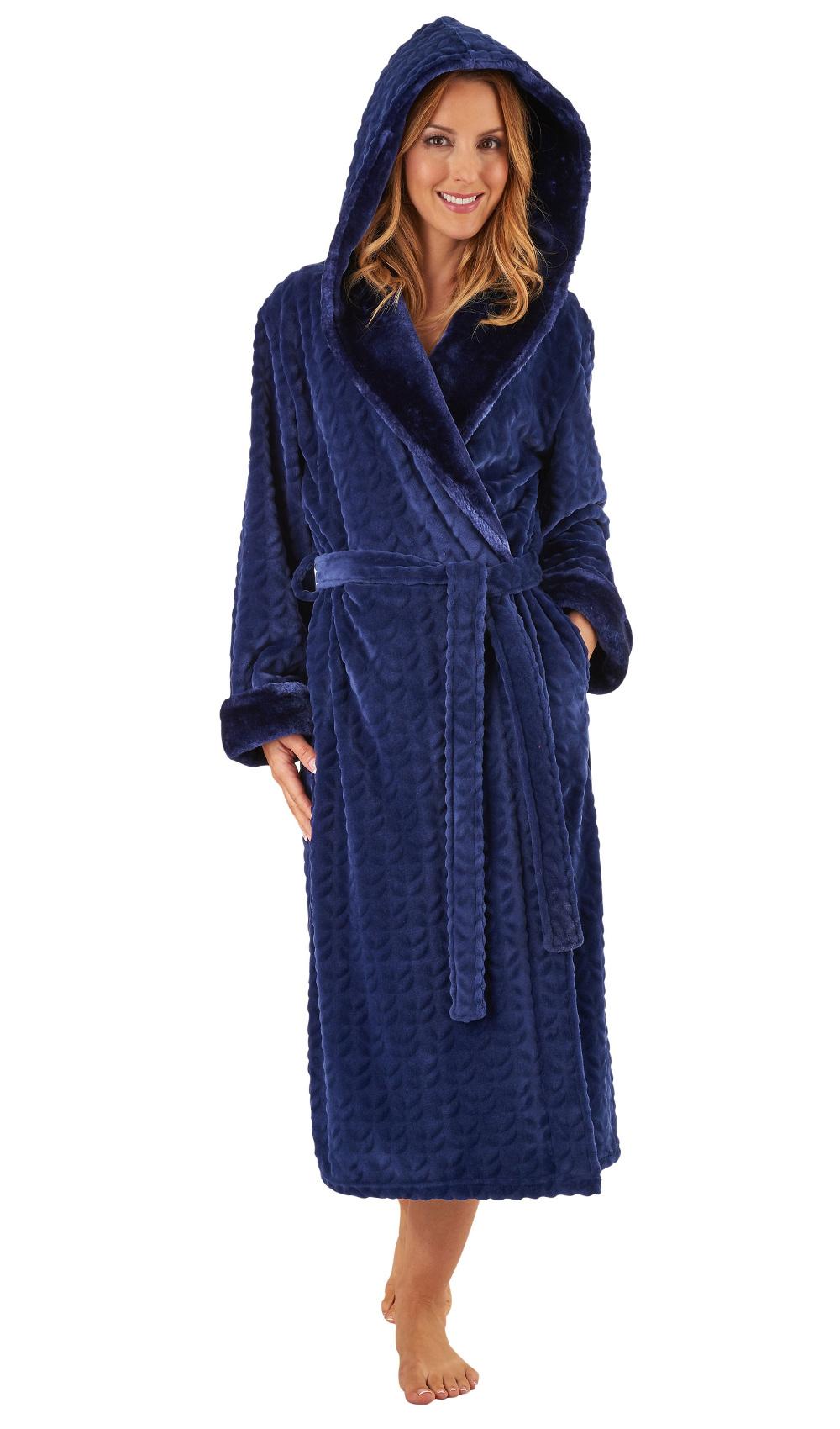 4aacd686dc Dressing Gown Ladies Bathrobe Faux Fur Shawl Collar Hooded Wrap Robe  Slenderella