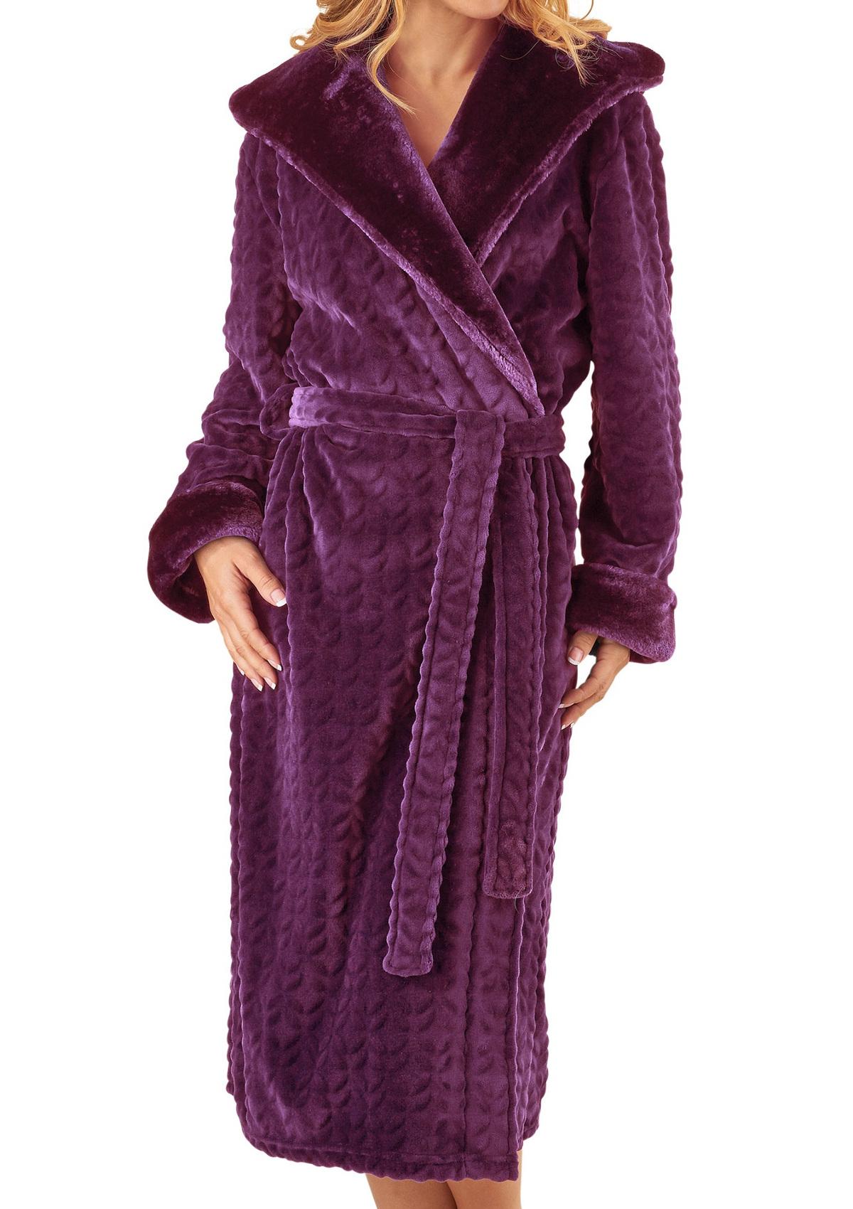 Dressing Gown Ladies Bathrobe Faux Fur Shawl Collar Hooded Wrap Robe ...
