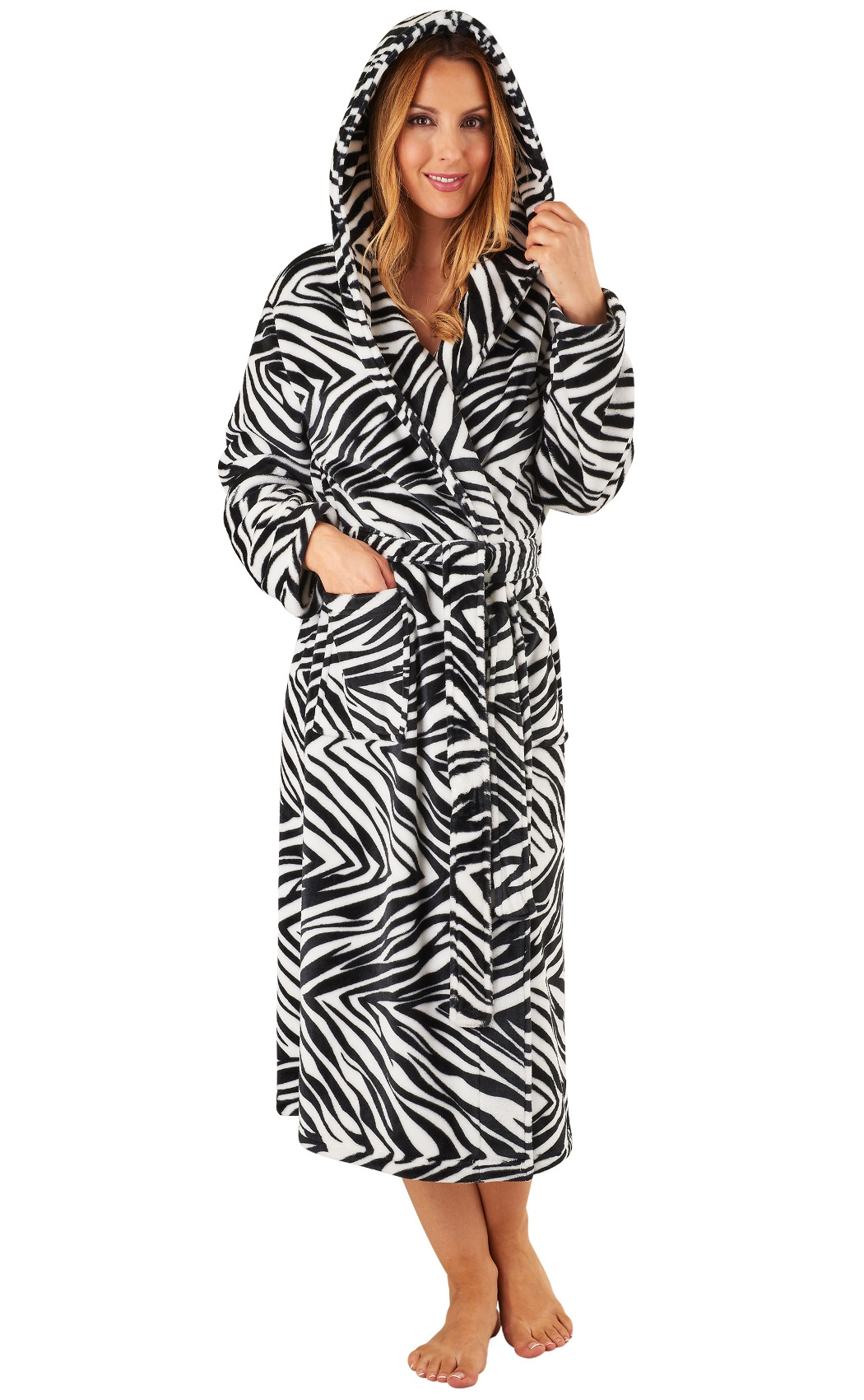 54a2eeb8d9 Dressing Gown Ladies Hooded Zebra Slenderella Animal Print Soft Fleecy  Bathrobe