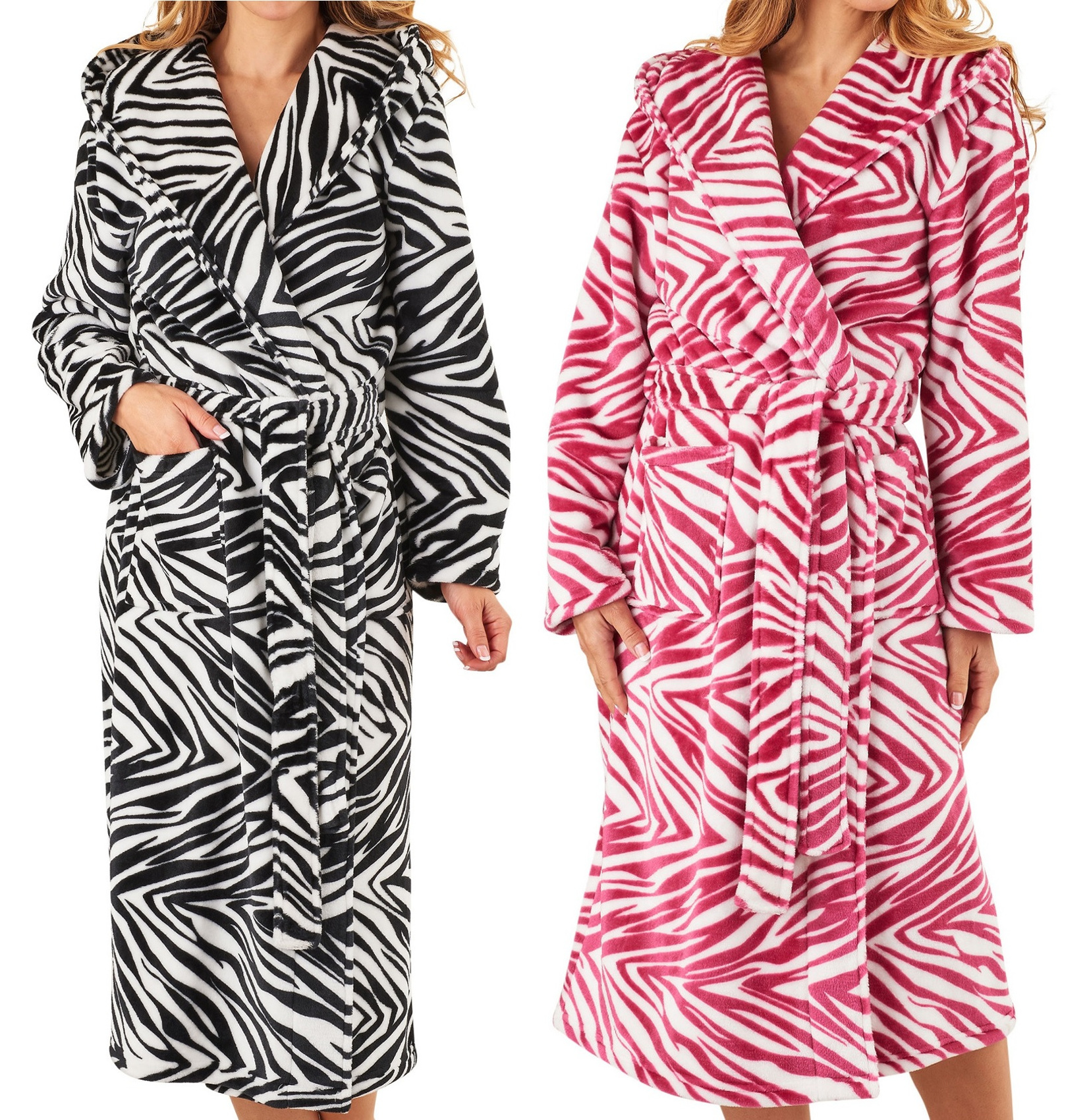 811e55aaf5 Details about Dressing Gown Ladies Hooded Zebra Slenderella Animal Print  Soft Fleecy Bathrobe