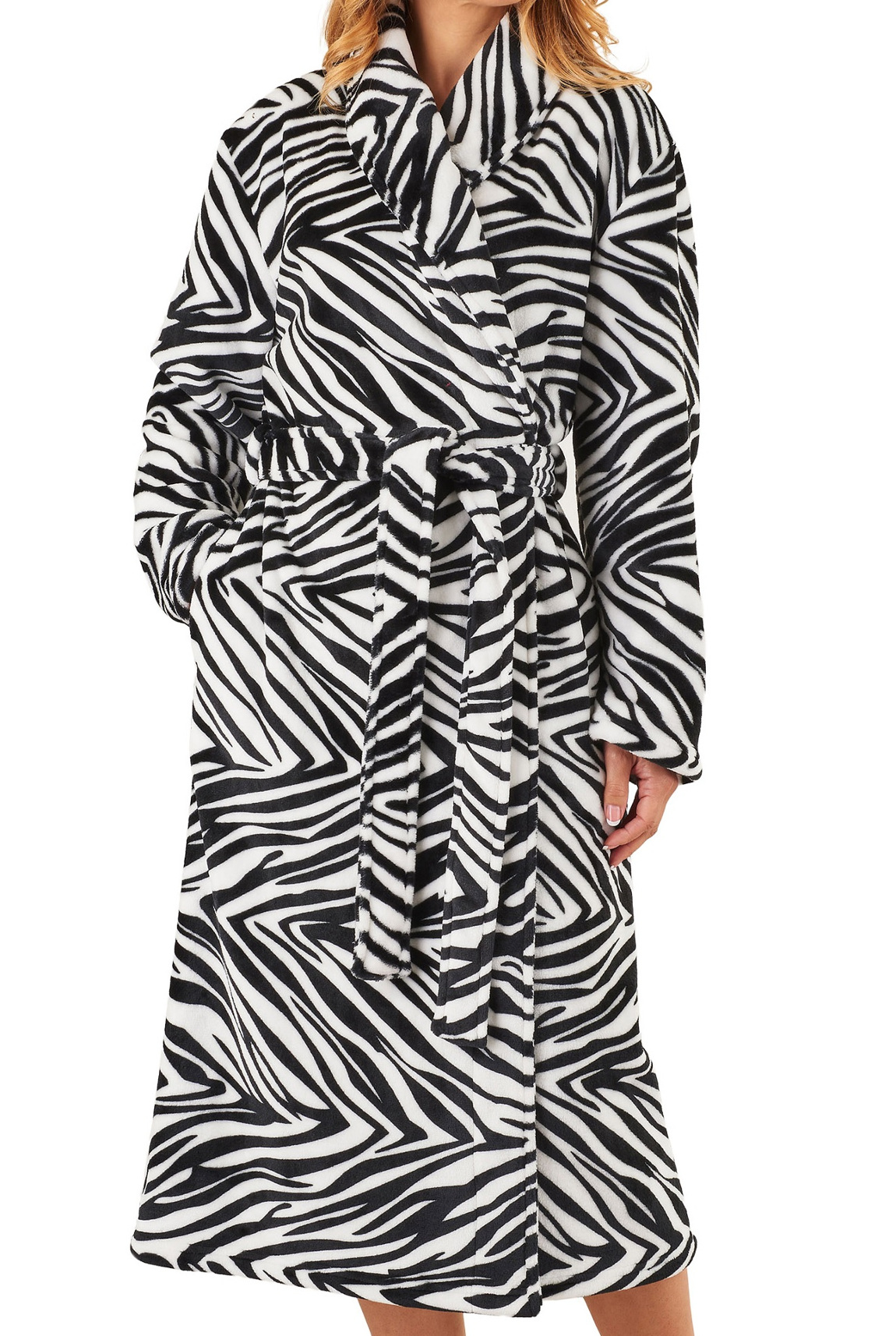 569f654b00 Dressing Gown Ladies Zebra Print Soft Fleece Slenderella Shawl Collar  Bathrobe
