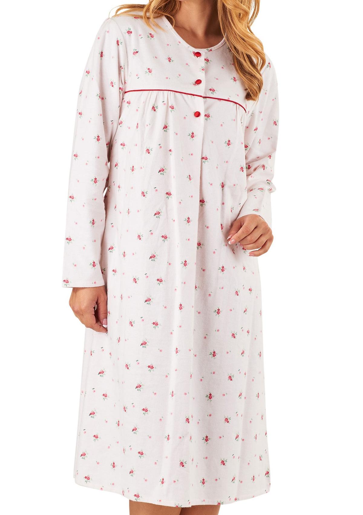 c5f97d2d9e Nightdress Womens Long Sleeved Floral 100% Cotton Flannel Nightie  Slenderella