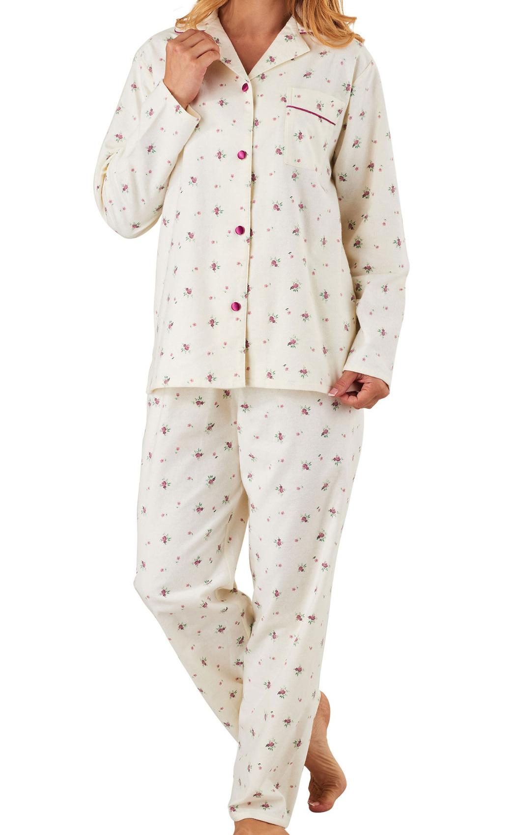 Ladies Slenderella Floral Pyjamas Button Up Top   Bottoms Flannel Cotton PJ  Set 9ed04b9fa3