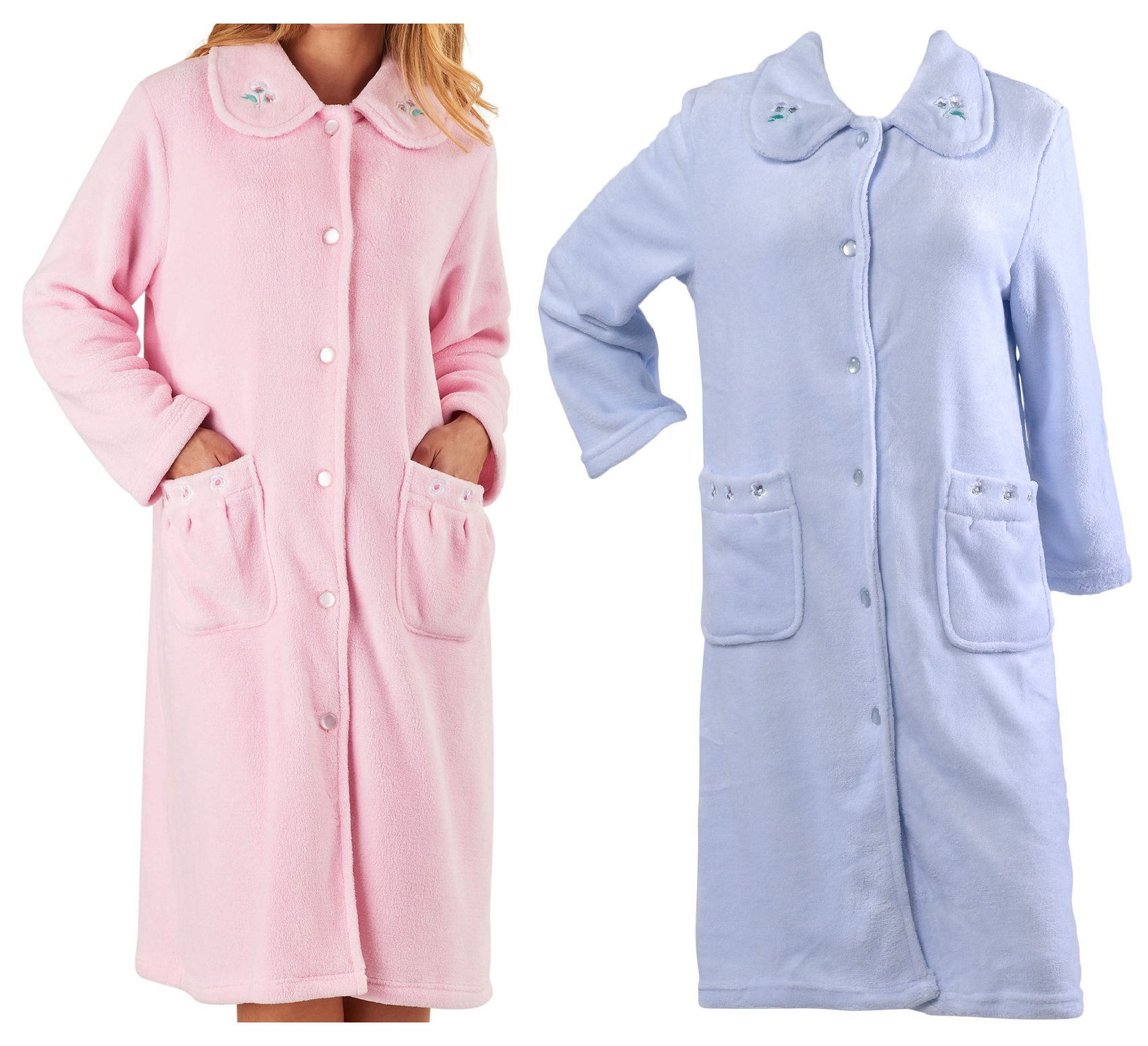 Dressing Gown Womens Floral Collar Button Up Bath Robe Slenderella ...