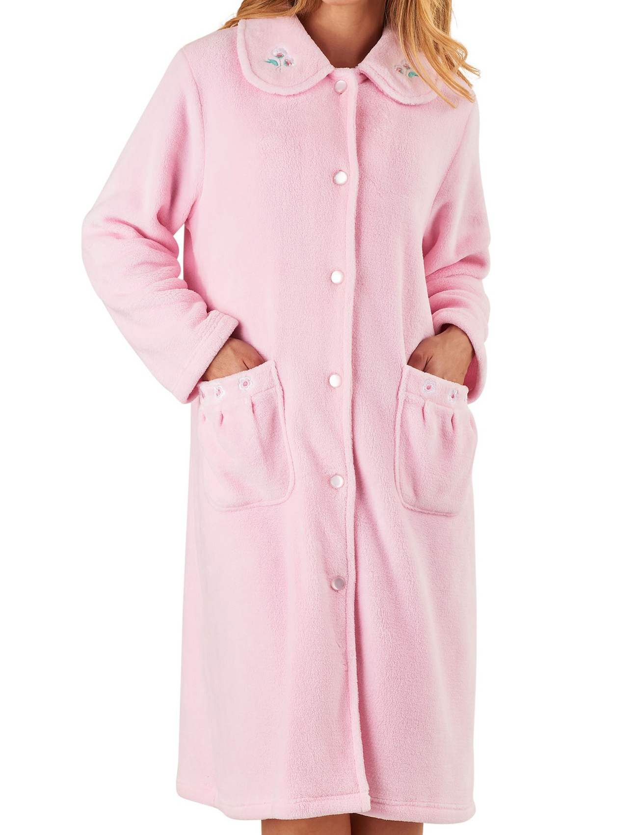 Dressing Gown Womens Floral Collar Button Up Bath Robe