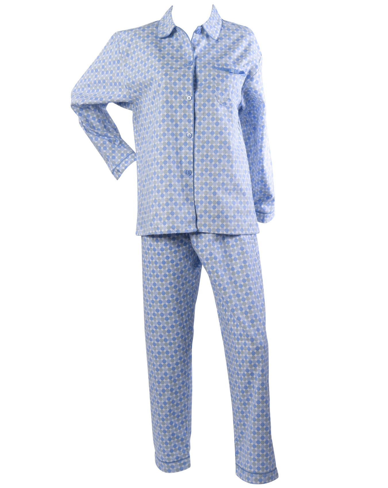 18158a8f7c Womens Polka Dot Pyjamas Ladies Brushed Cotton Button Up Spots PJs  Nightwear Set