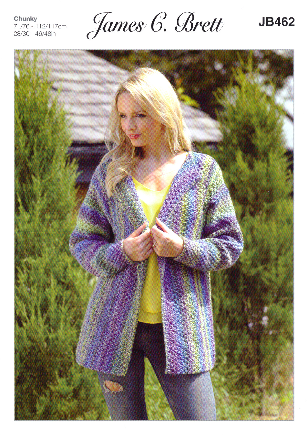 Marble Chunky Knitting Pattern Ladies Long Sleeved Jacket James