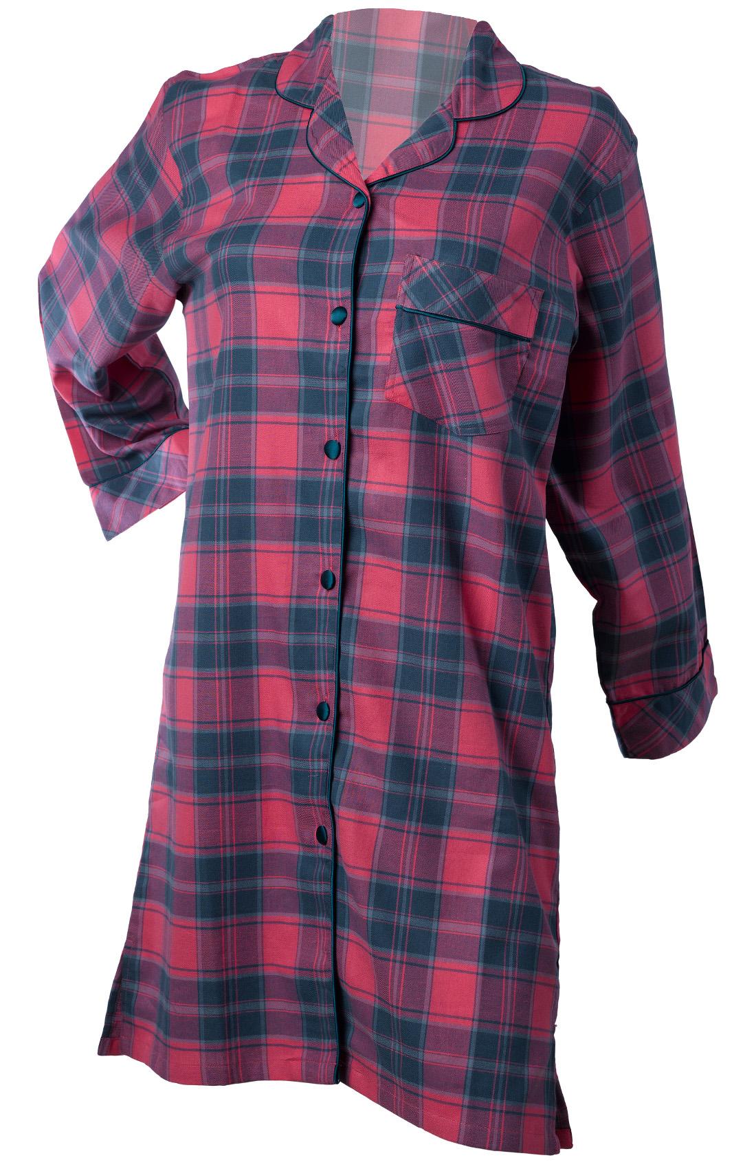 Womens Tartan Nightie Long Sleeved Button Up Strawberry Check Cotton Nightshirt