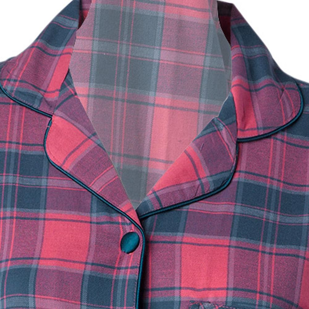 Womens Combed Cotton Tartan Pyjamas Long Sleeve Bottoms PJs Set Strawberry  Check 7af2aefb8