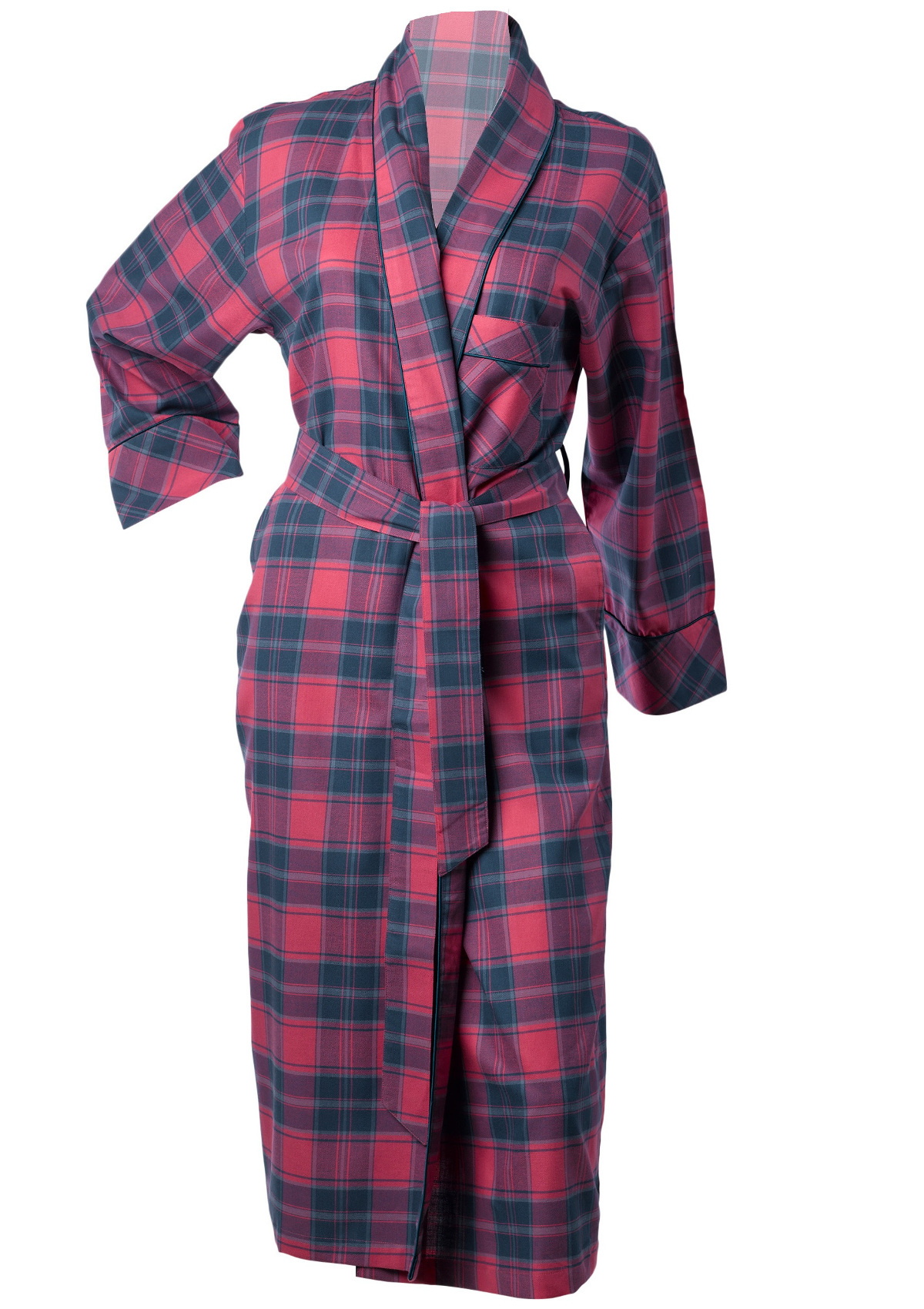 Womens 100% Cotton Tartan Dressing Gown Strawberry Check Ladies ...