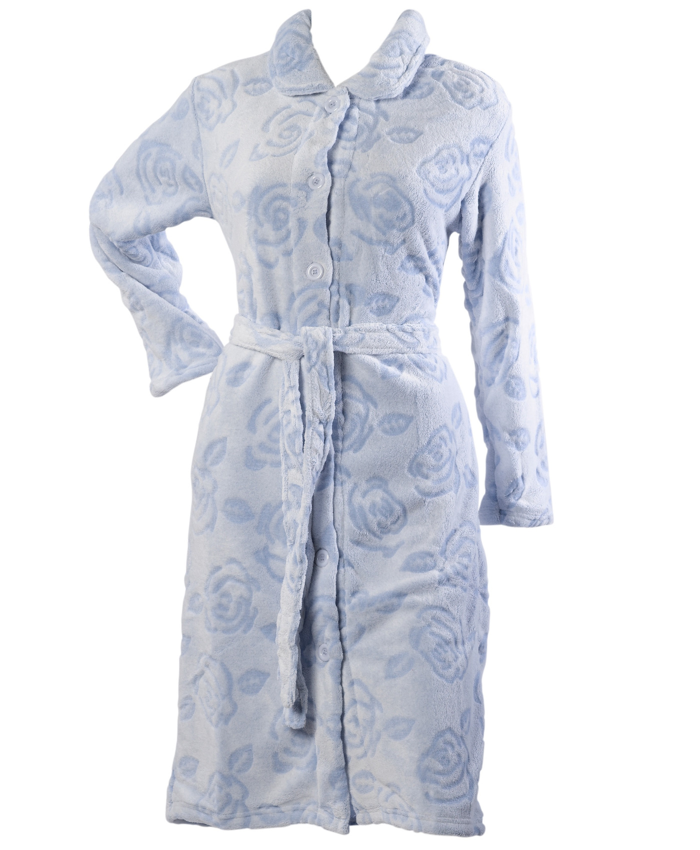 Womens Floral Vintage Rose Dressing Gown Ladies Button Up Soft ...