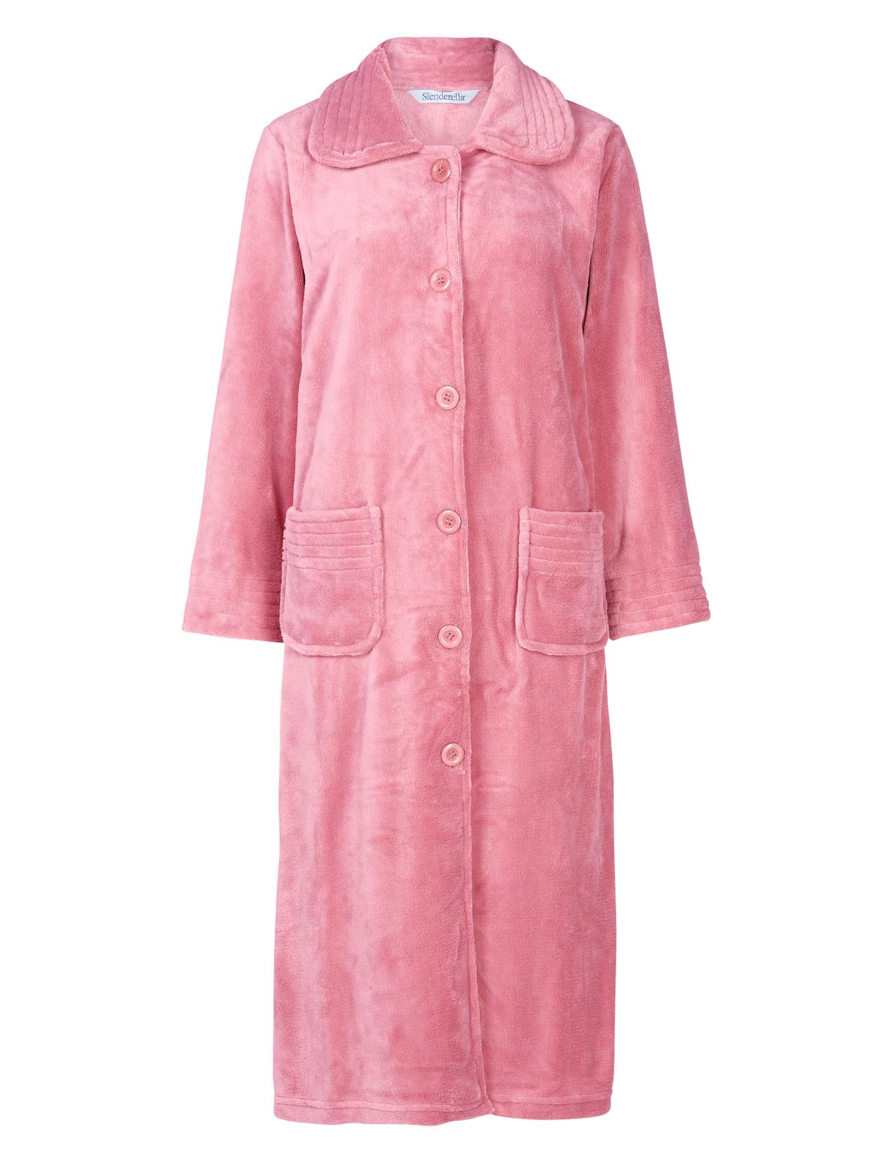 Dressing Gown Womens Button Up Soft Fleecy Plain Bath Robe Pockets ...