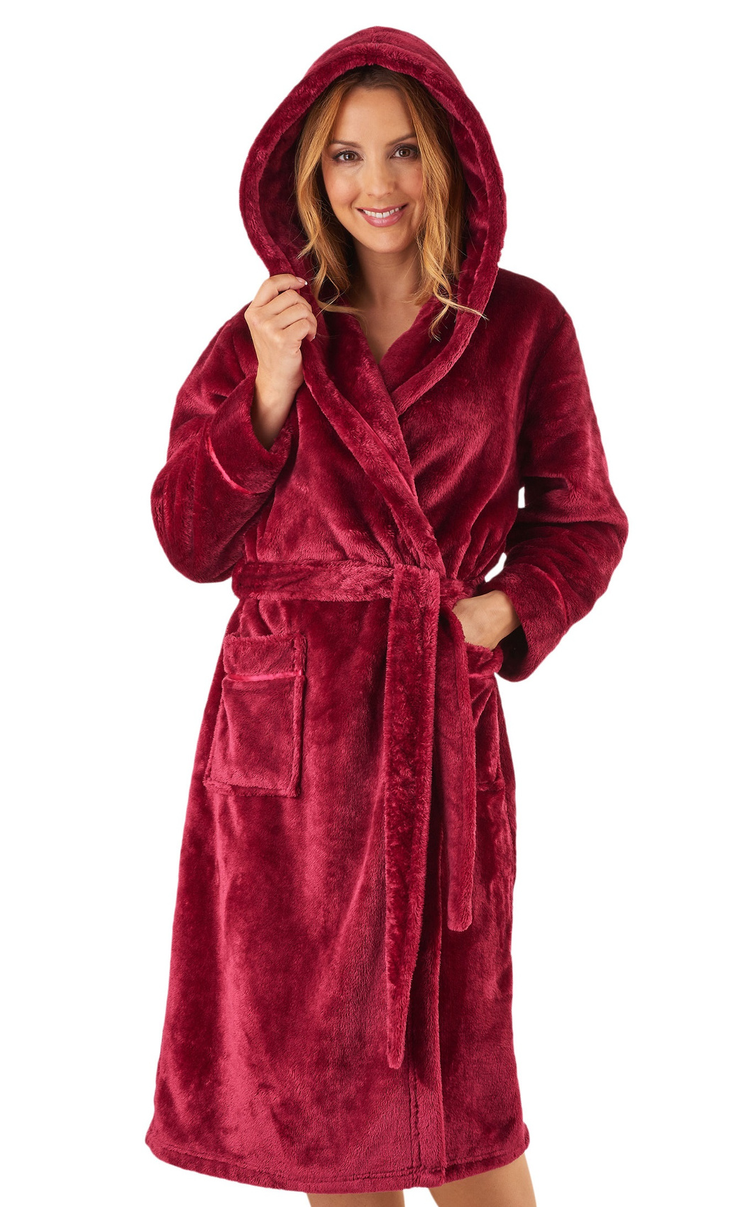 Dressing Gown Luxury Super Soft Thick Fleece Womens Hooded ...