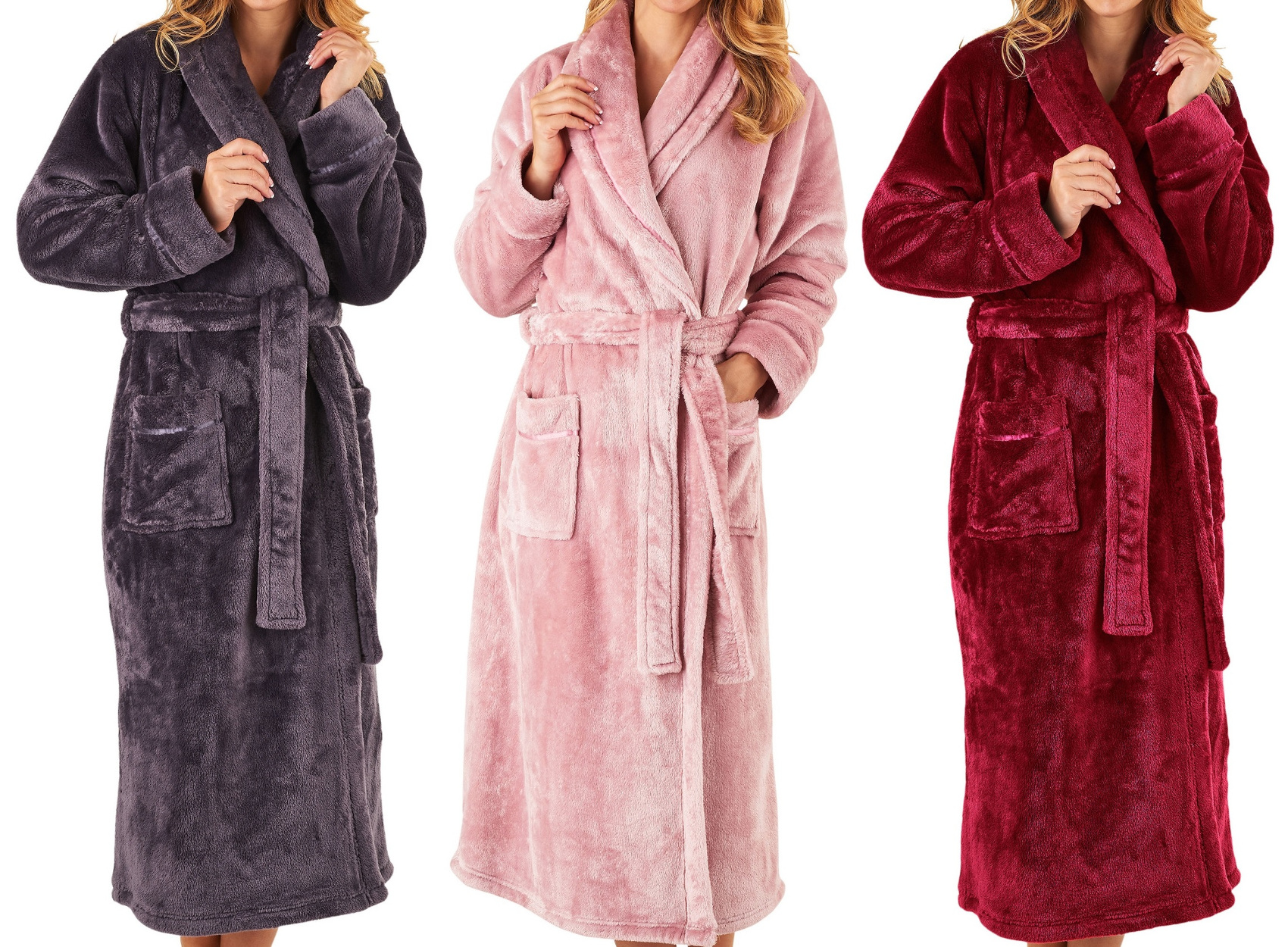 Dressing Gown Ladies Super Soft Thick Fleece Shawl Collar ...