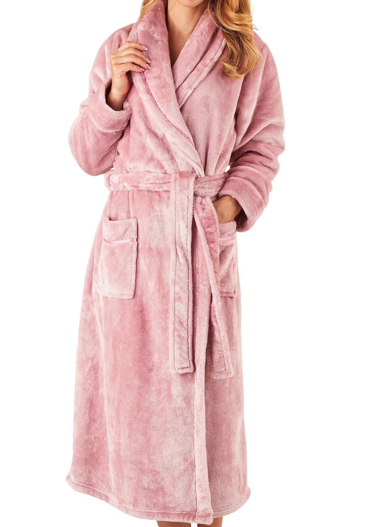 Dressing Gown Ladies Super Soft Thick Fleece Shawl Collar ...