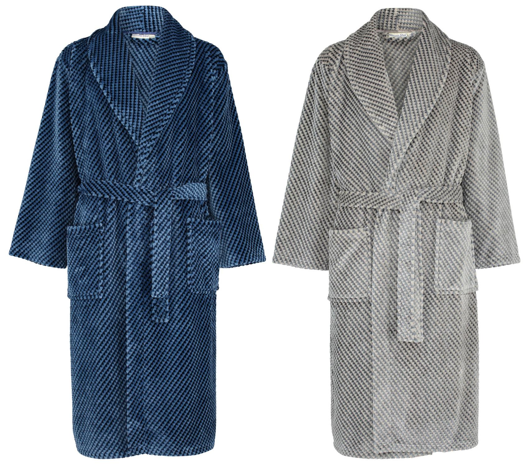 Dressing Gown Mens Thick Fleece Harlequin Check Bathrobe Walker Reid ...