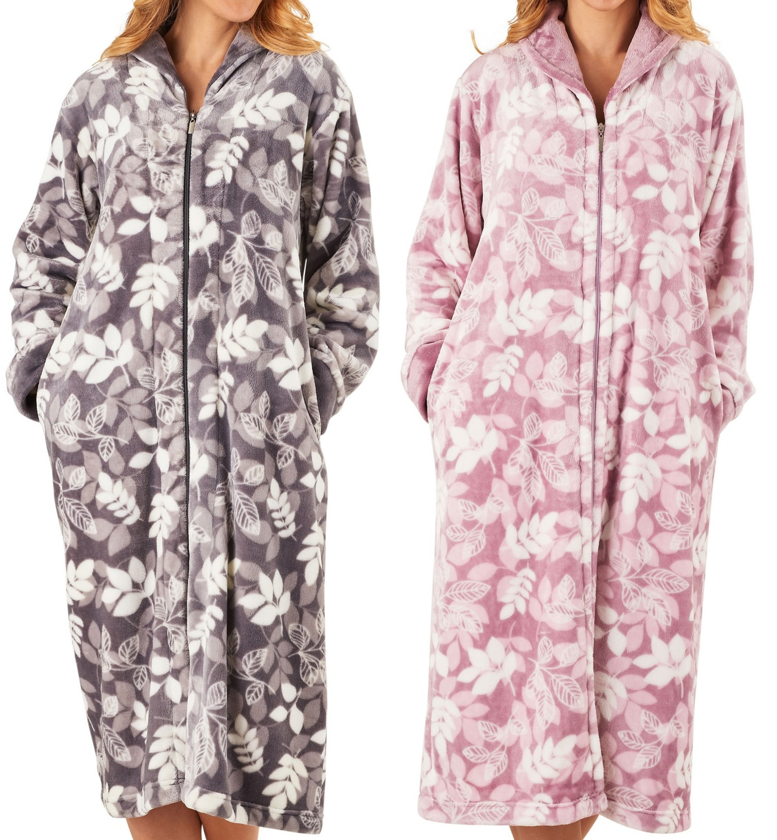 Dressing Gown Womens Leaf Pattern Zip Up Bathrobe Slenderella ...