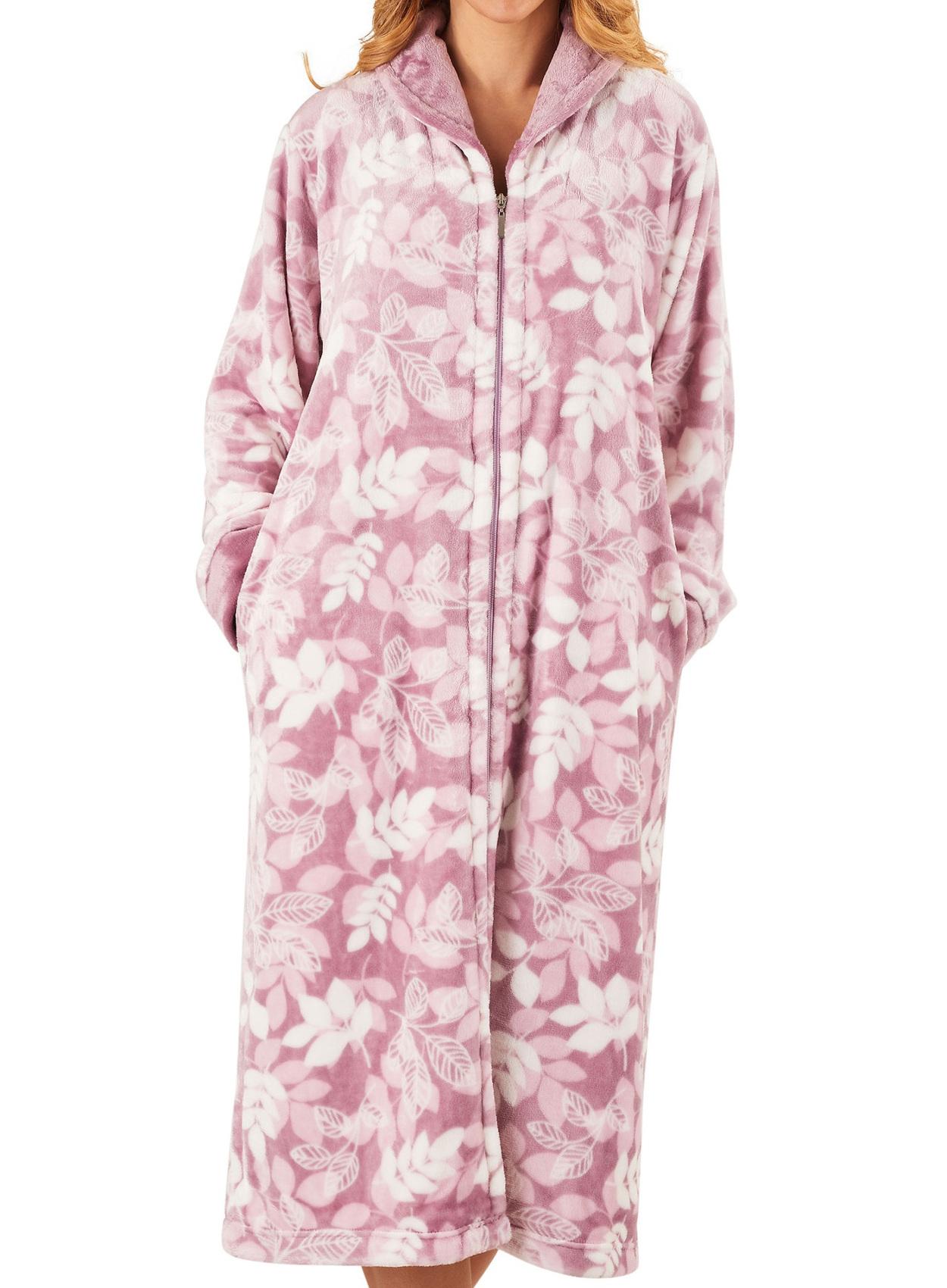 Slenderella Ladies Zip Up Dressing Gown Super Soft Leaf Print ...