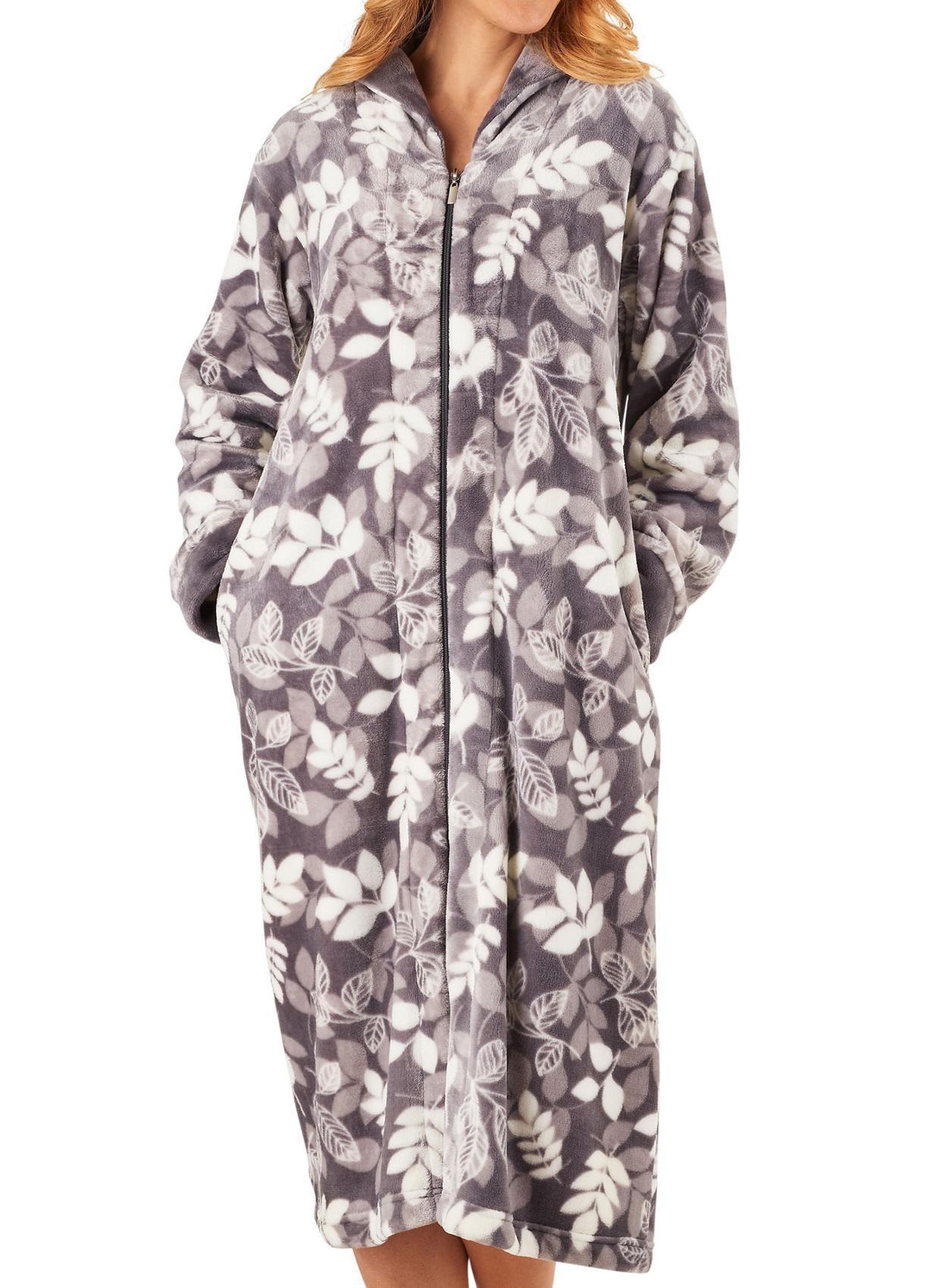 Dressing Gown Womens Leaf Pattern Zip Up Bathrobe Slenderella