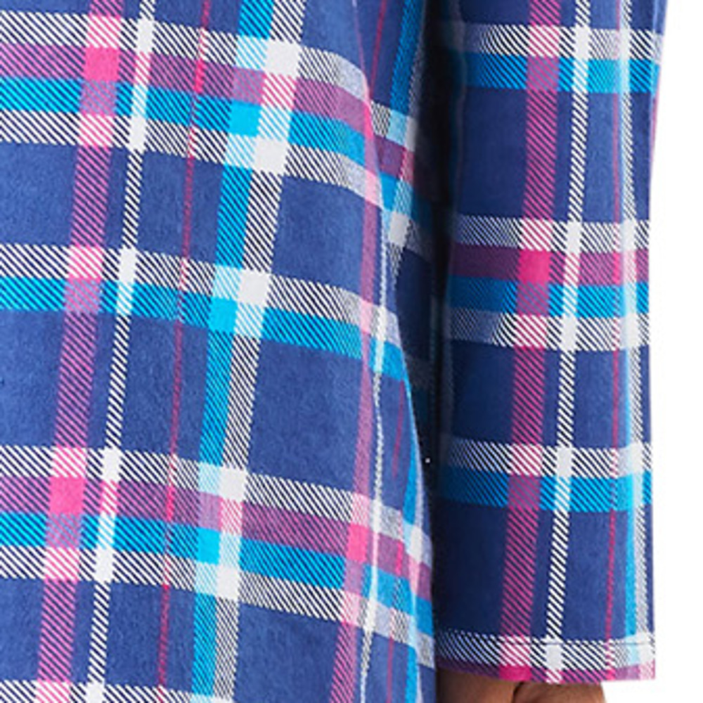 07da1e1bdc These ladies button through tartan nightshirts by Slenderella have long  sleeves and are made from a soft brushed cotton
