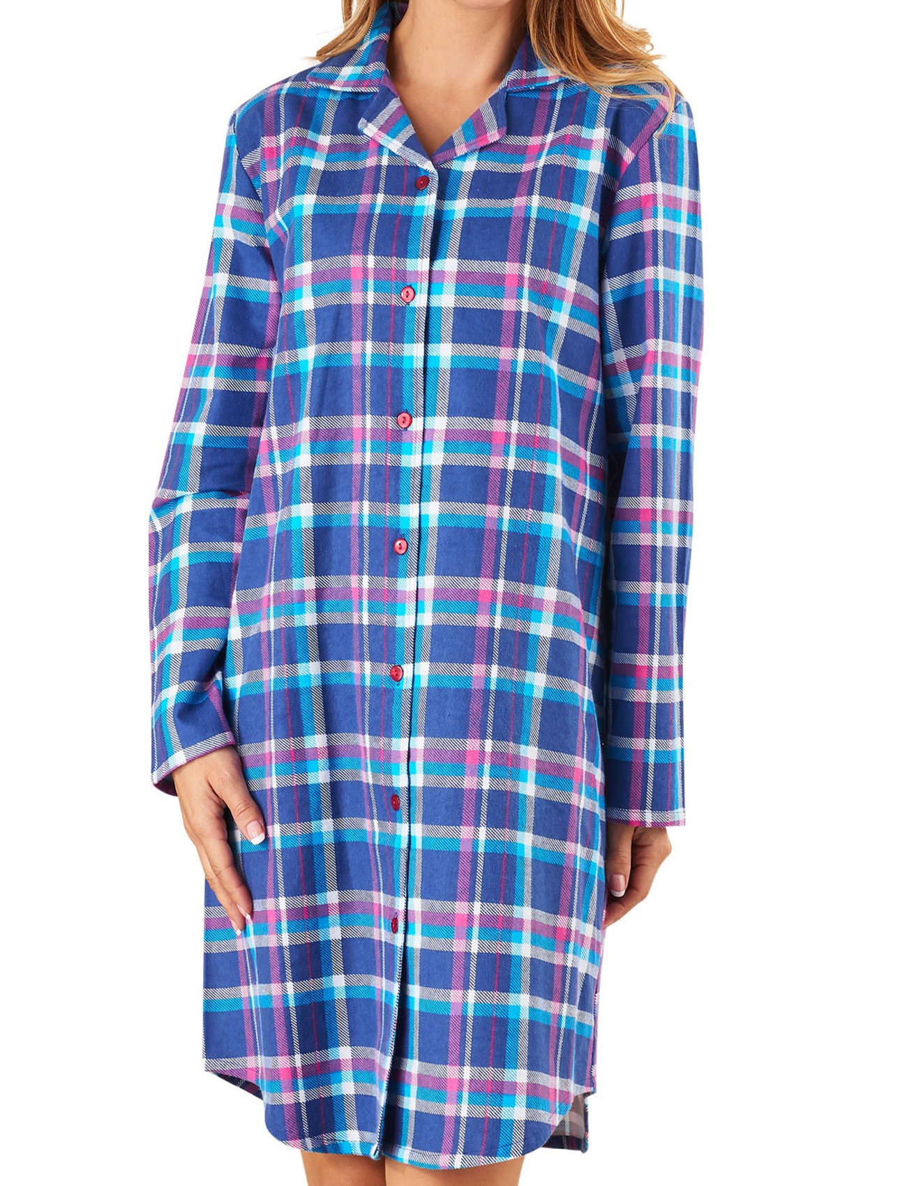 606b32bd37 Checked Nightshirt Womens Slenderella Brushed Cotton Long Sleeved Tartan  Nighty