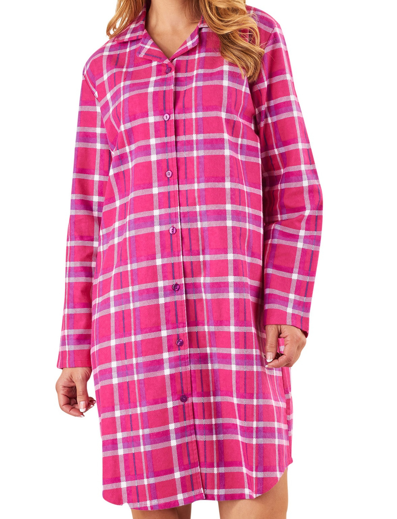 Ladies slenderella tartan nightshirt womens 100 flannel for Womens flannel night shirts