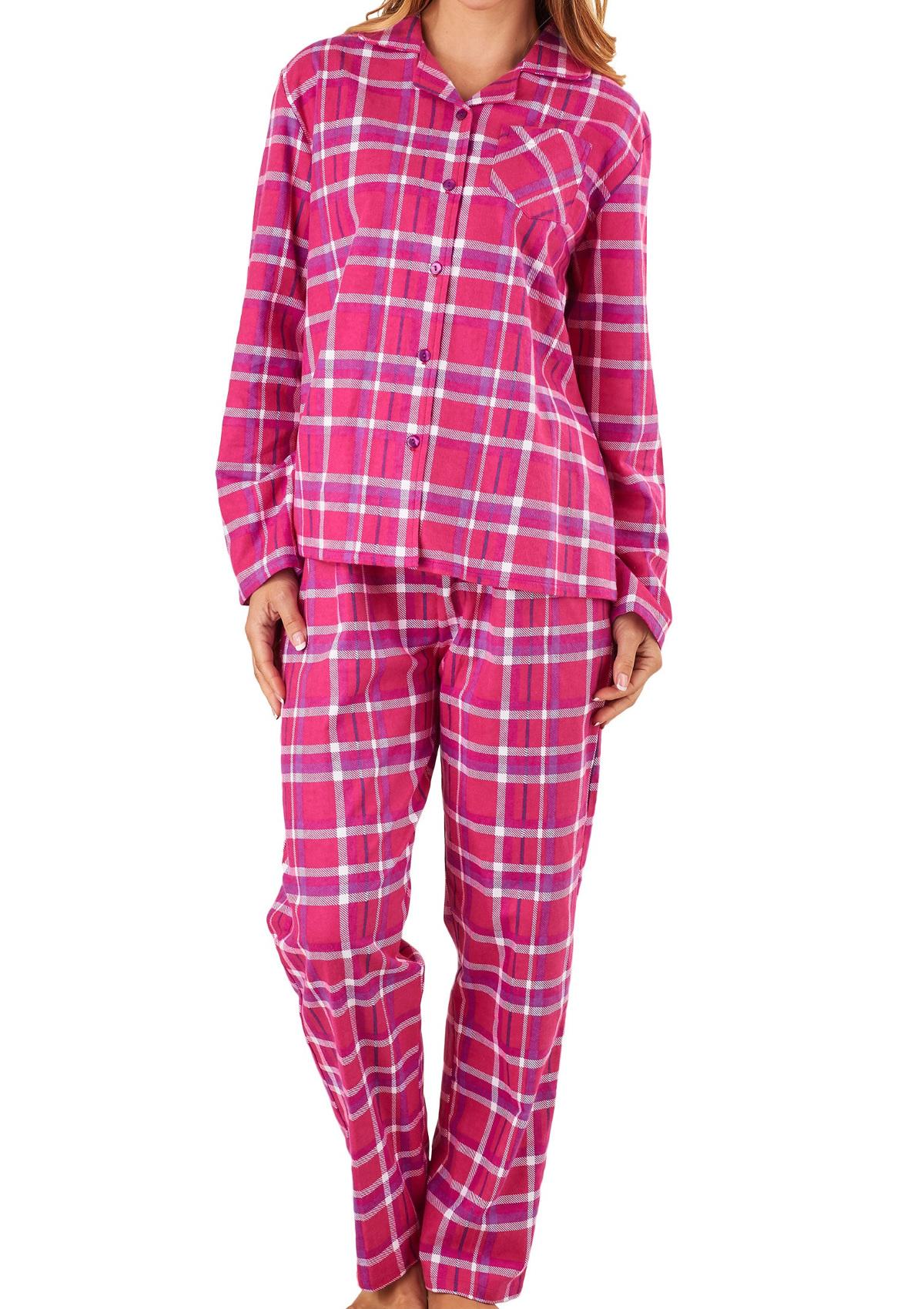 Pyjamas Ladies Slenderella 100 Brushed Cotton Pjs Set