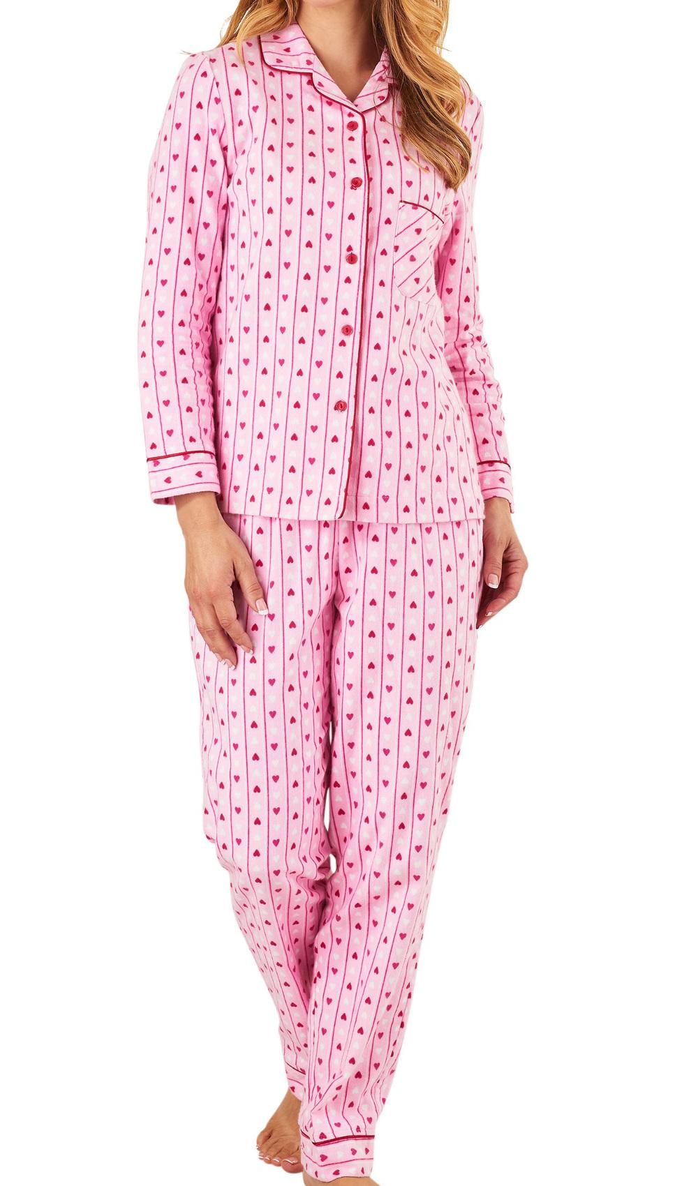 Pyjamas Ladies Slenderella 100% Brushed Cotton PJs Heart Print Womens  Nightwear 3c5072d4b4