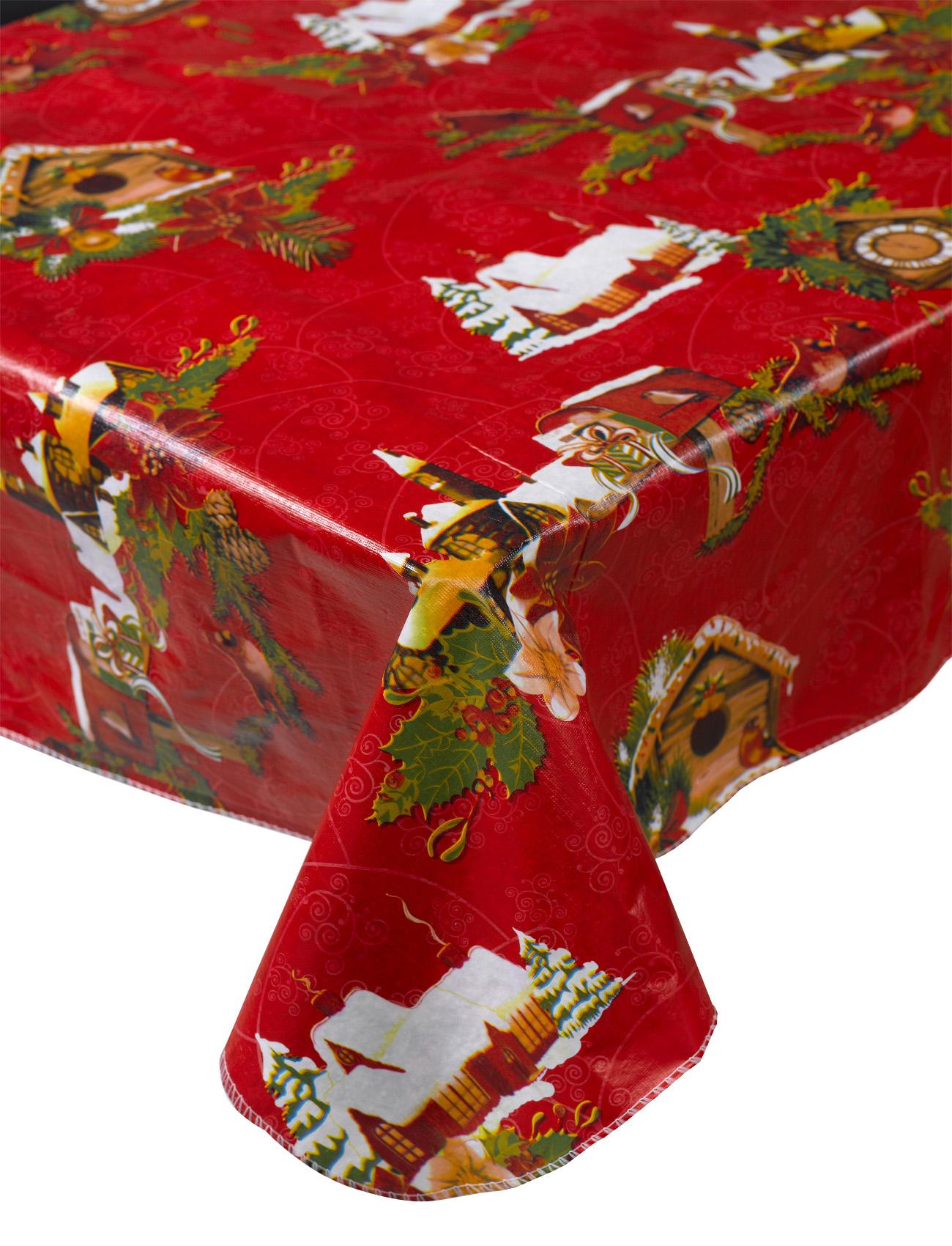 Snowy xmas scene christmas pvc tablecloth festive for 12 days of christmas table cloth