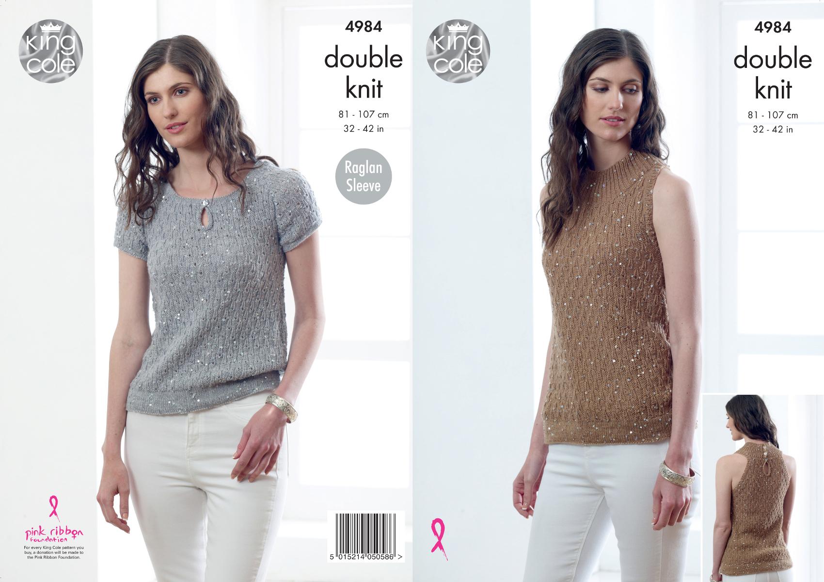 King Cole Ladies Double Knitting Pattern Halter Neck & Raglan Sleeve ...