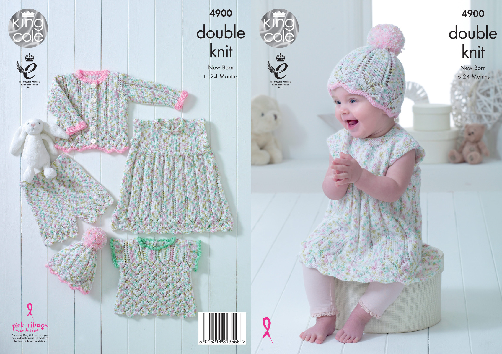 40da1d8811f King Cole Baby Double Knitting Pattern Lace Dress Top Cardigan ...