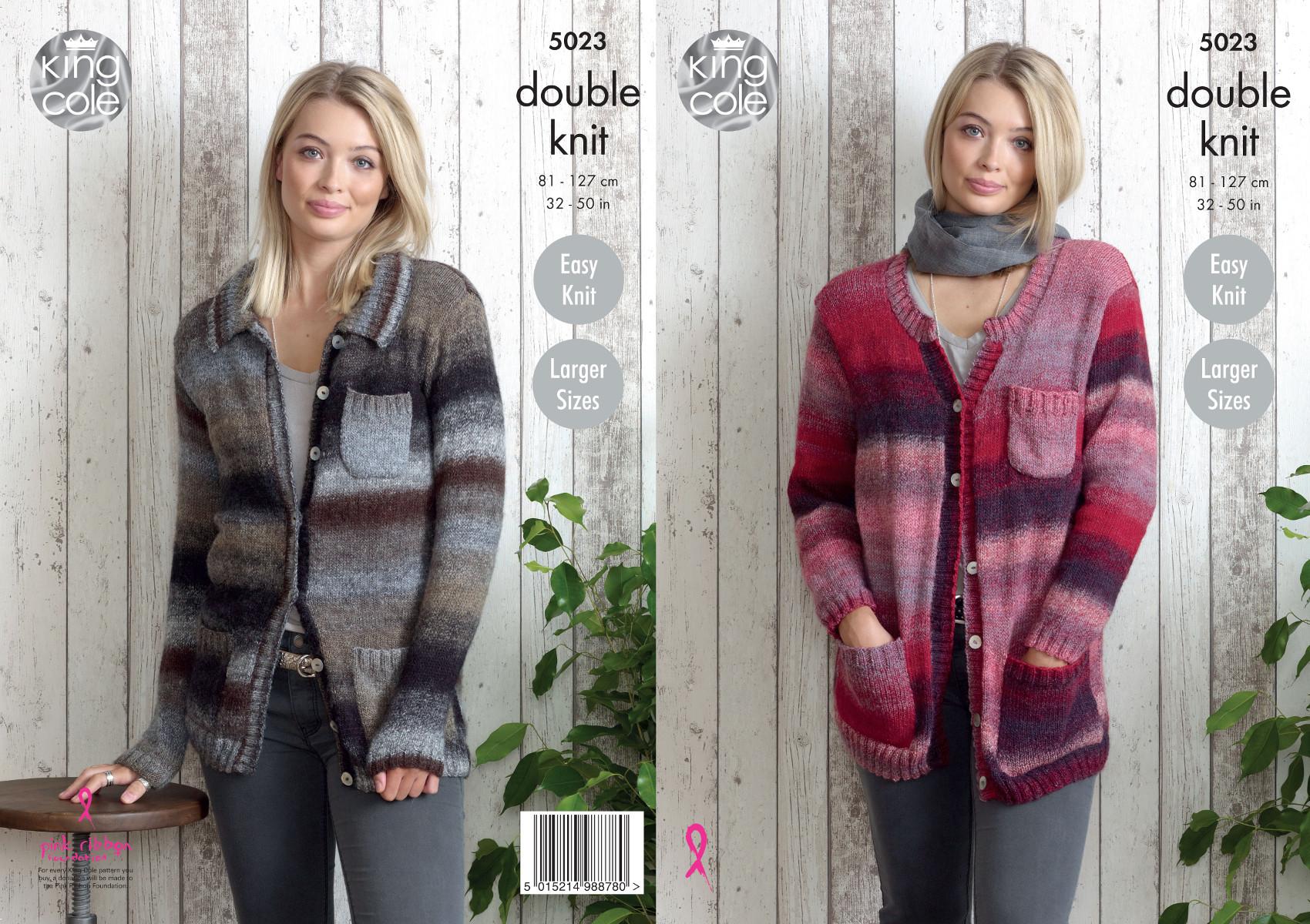 c86dfaff50de King Cole Ladies Knitting Pattern Easy Knit Split Neck or Collar ...
