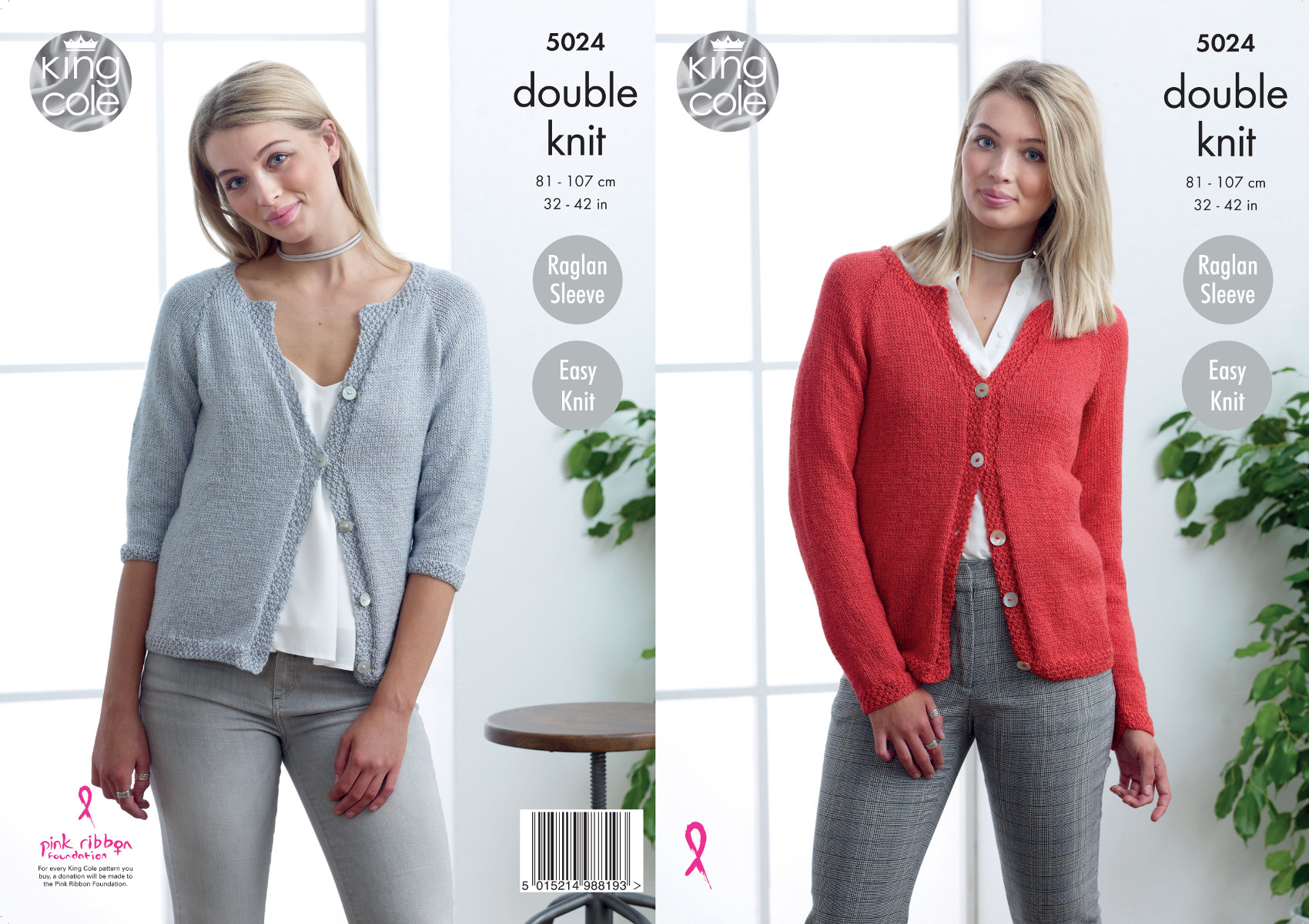5bffb3d8b648 Details about King Cole Ladies Double Knitting Pattern Long or 3 4 Raglan  Sleeve Cardigan 5024